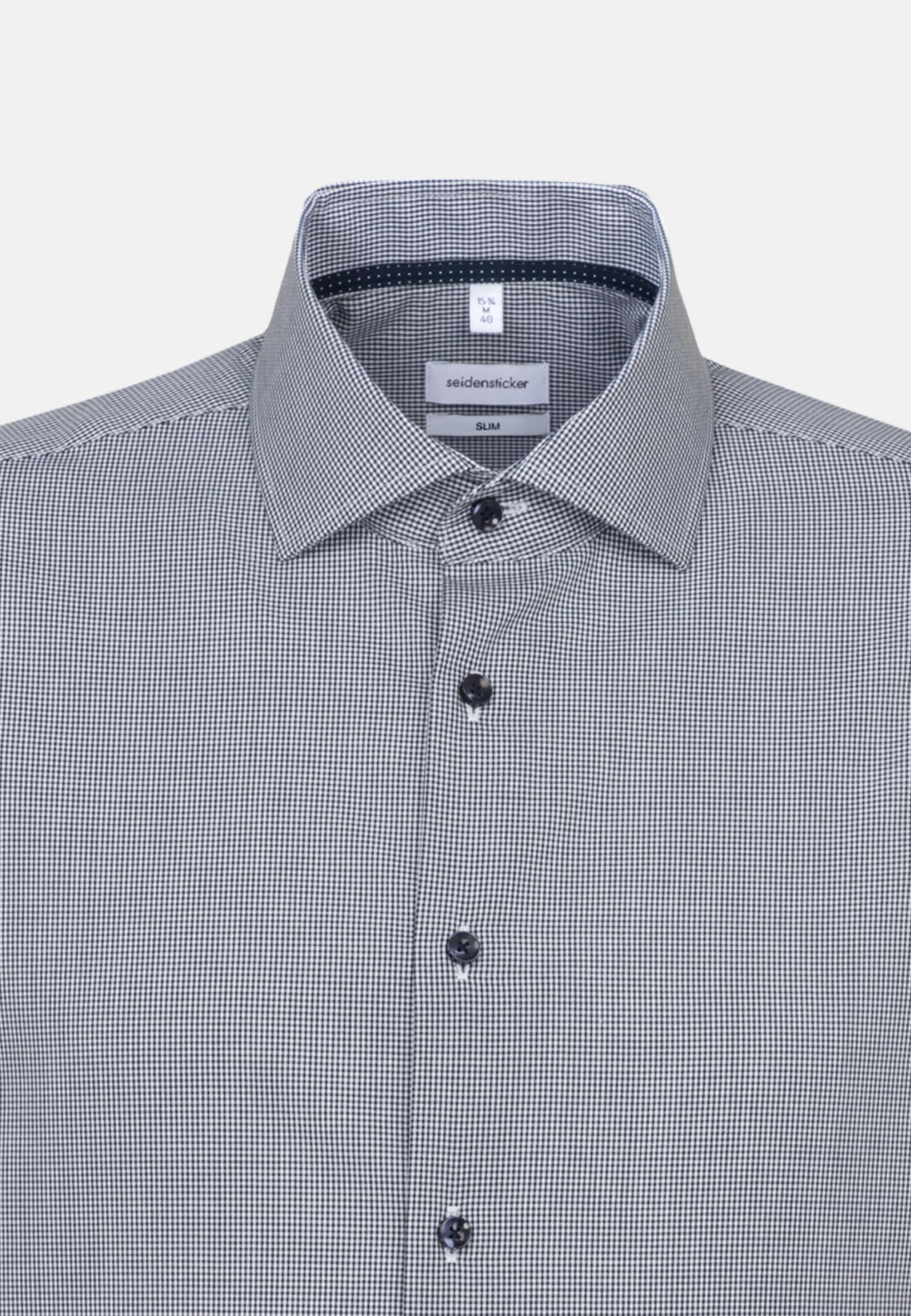 Non-iron Poplin Short sleeve Business Shirt in Slim with Kent-Collar in Dark blue    Seidensticker Onlineshop