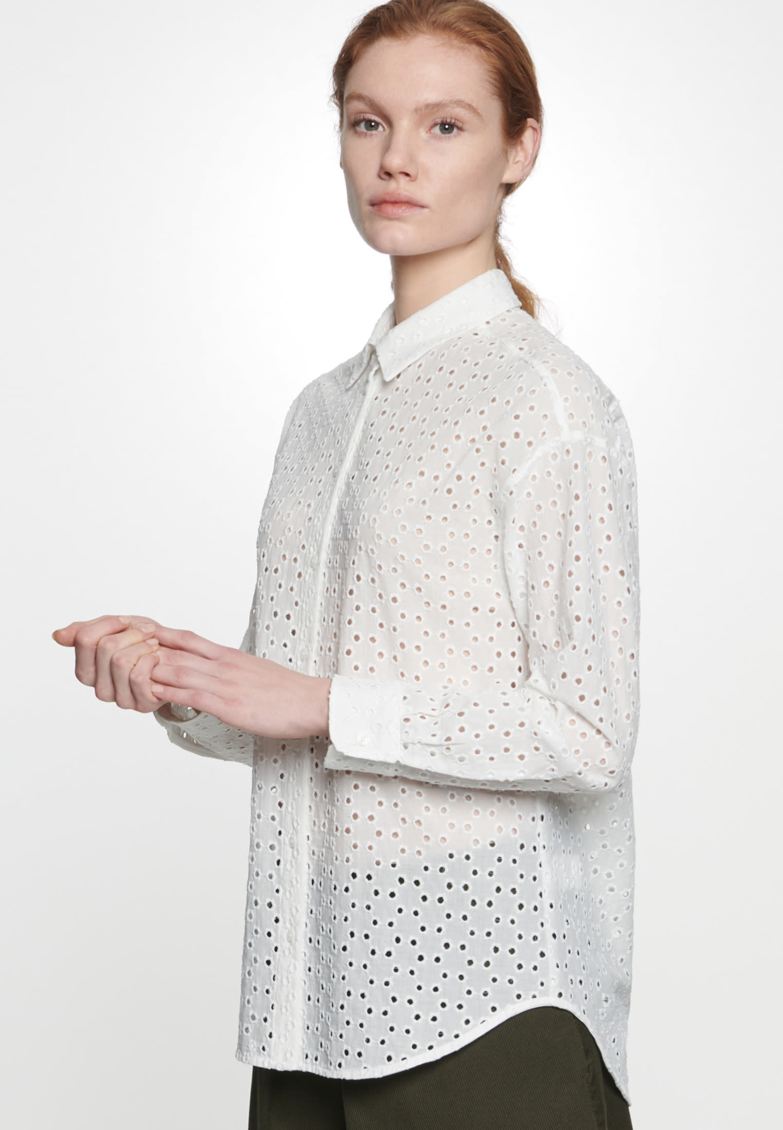 Voile Shirt Blouse made of 100% Cotton in Ecru |  Seidensticker Onlineshop