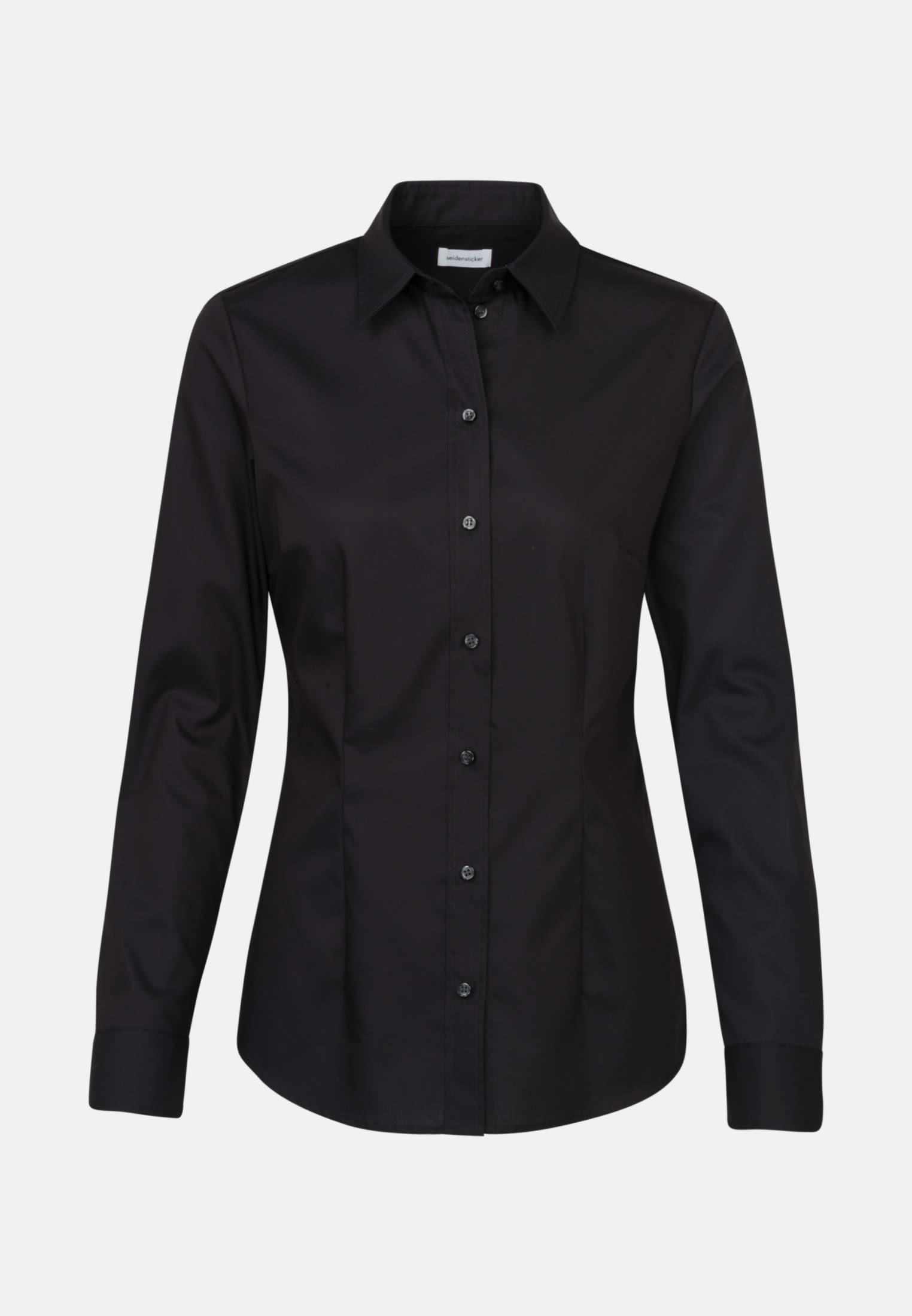 Non-iron Poplin Shirt Blouse made of 100% Cotton in Black |  Seidensticker Onlineshop