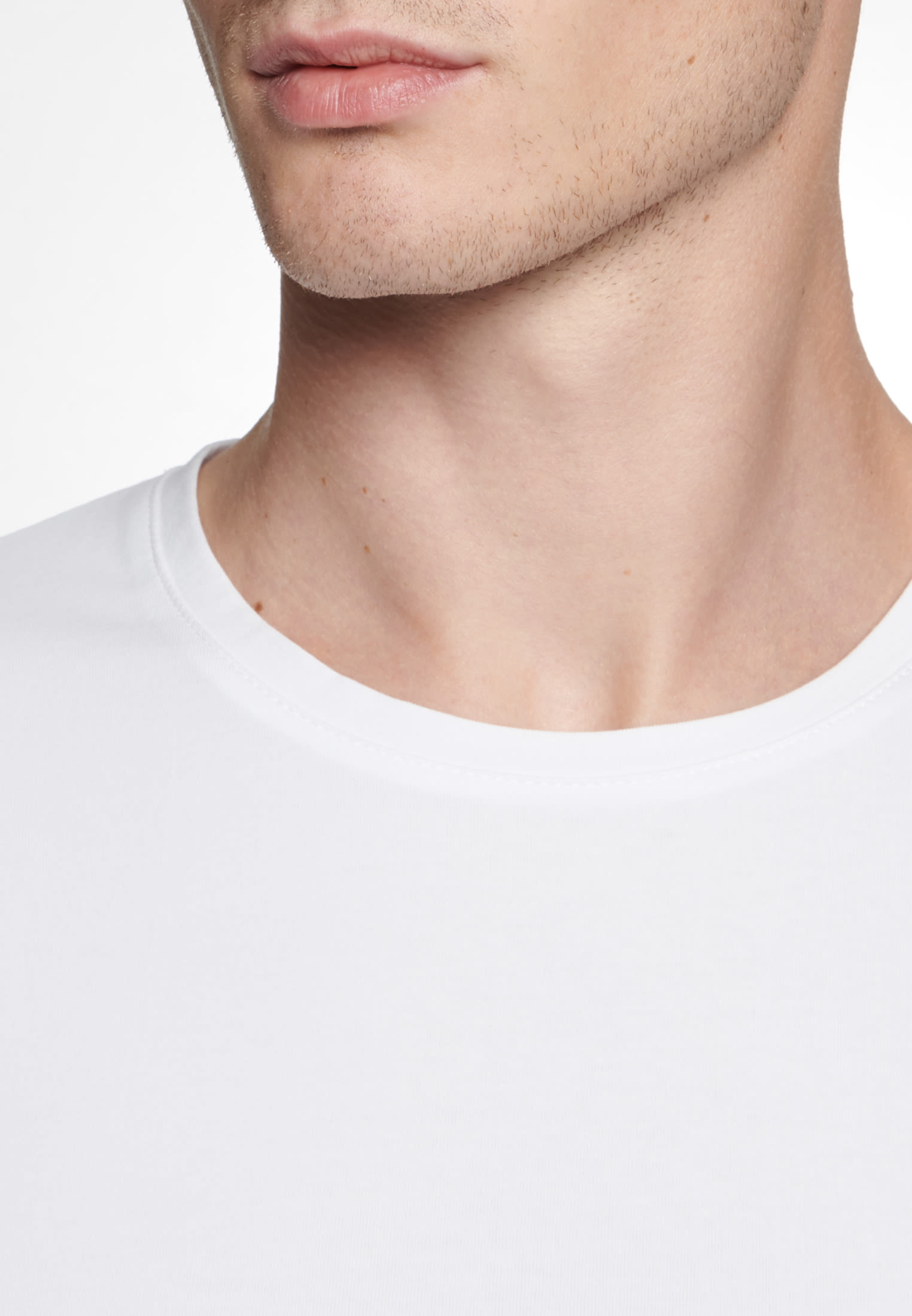 Crew Neck T-Shirt made of cotton blend in White |  Seidensticker Onlineshop