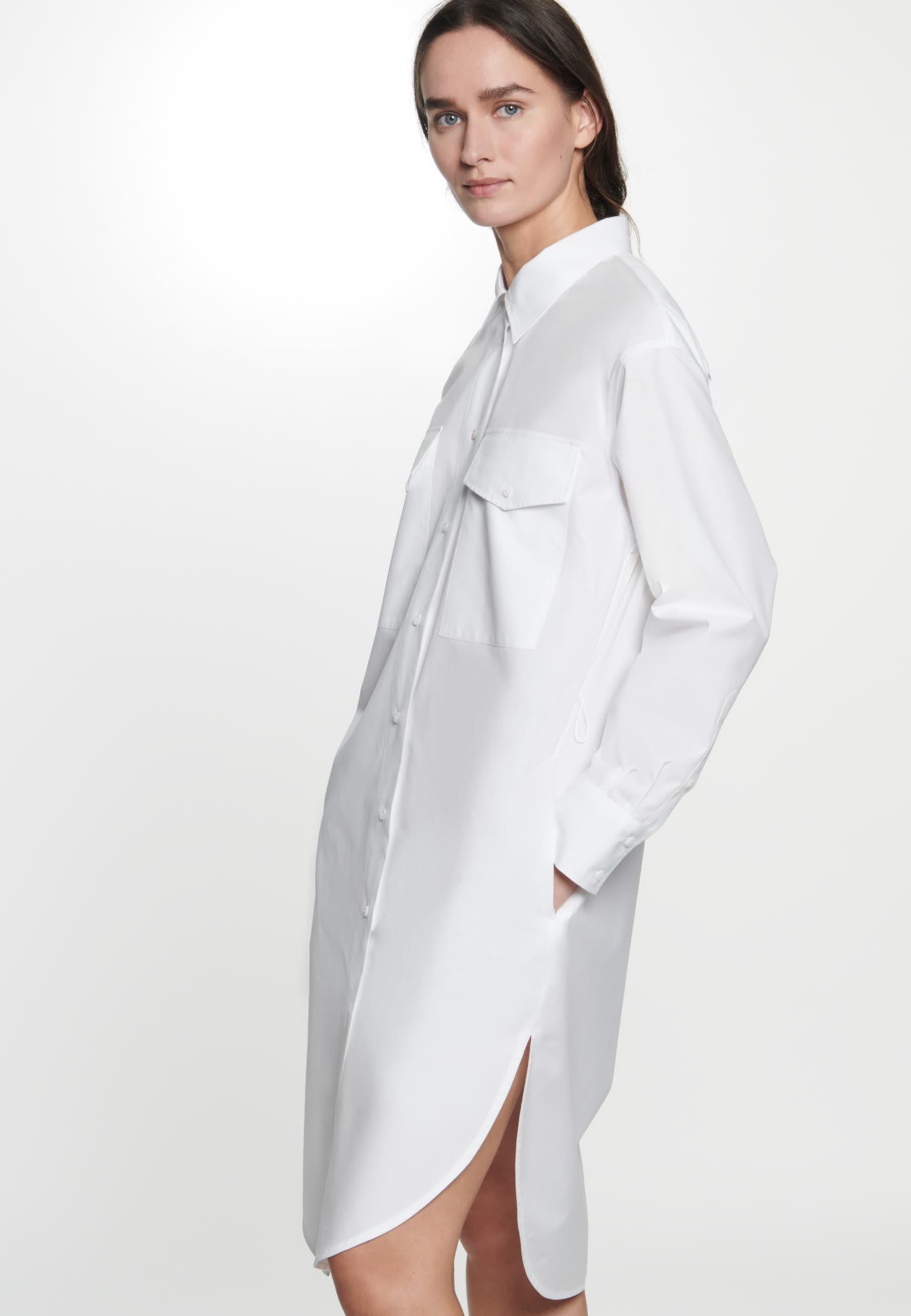 Popeline Midi Kleid aus 100% Baumwolle in Weiß |  Seidensticker Onlineshop