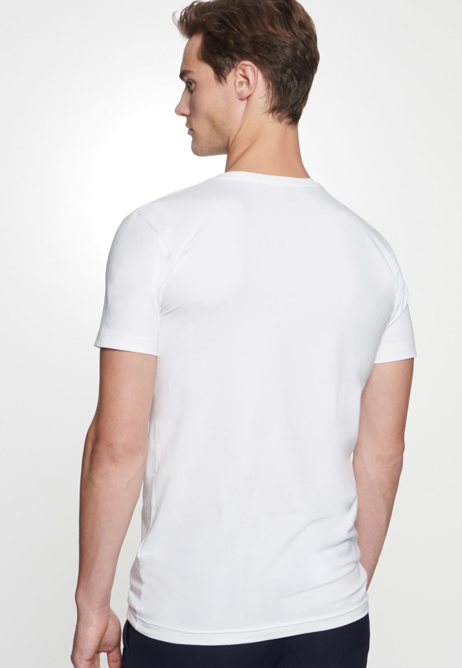 V-Neck T-Shirt made of 95% Cotton 5% Elastane in weiß    Seidensticker Onlineshop