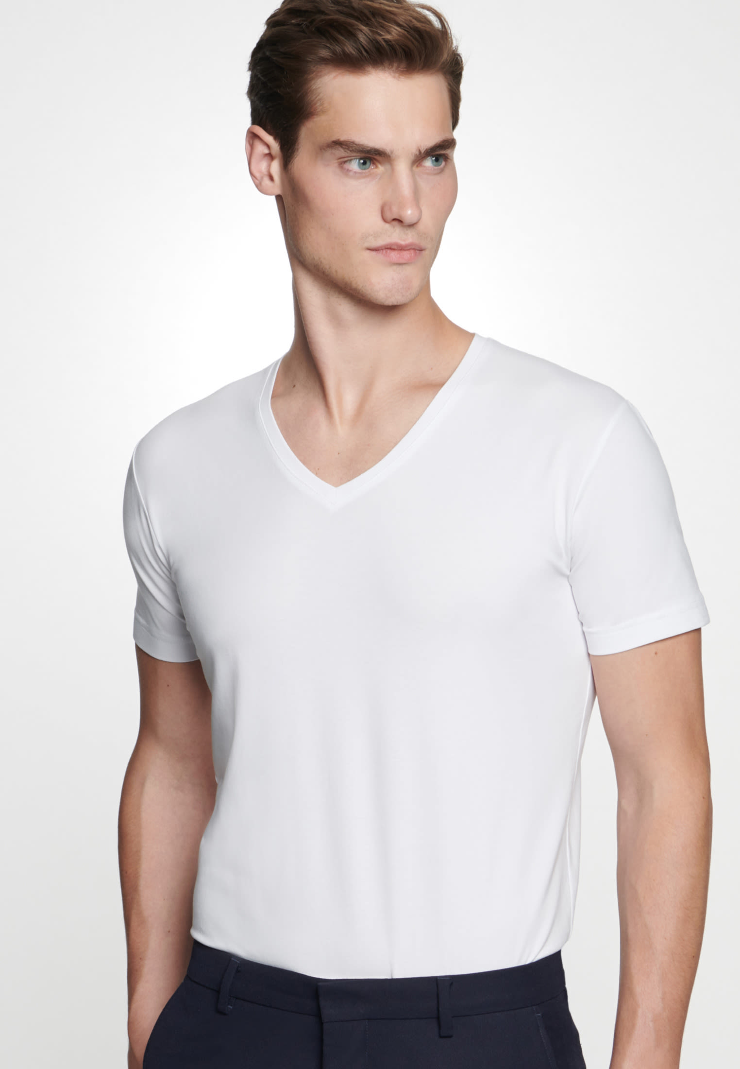 V-Neck T-Shirt made of 95% Cotton 5% Elastane in White |  Seidensticker Onlineshop