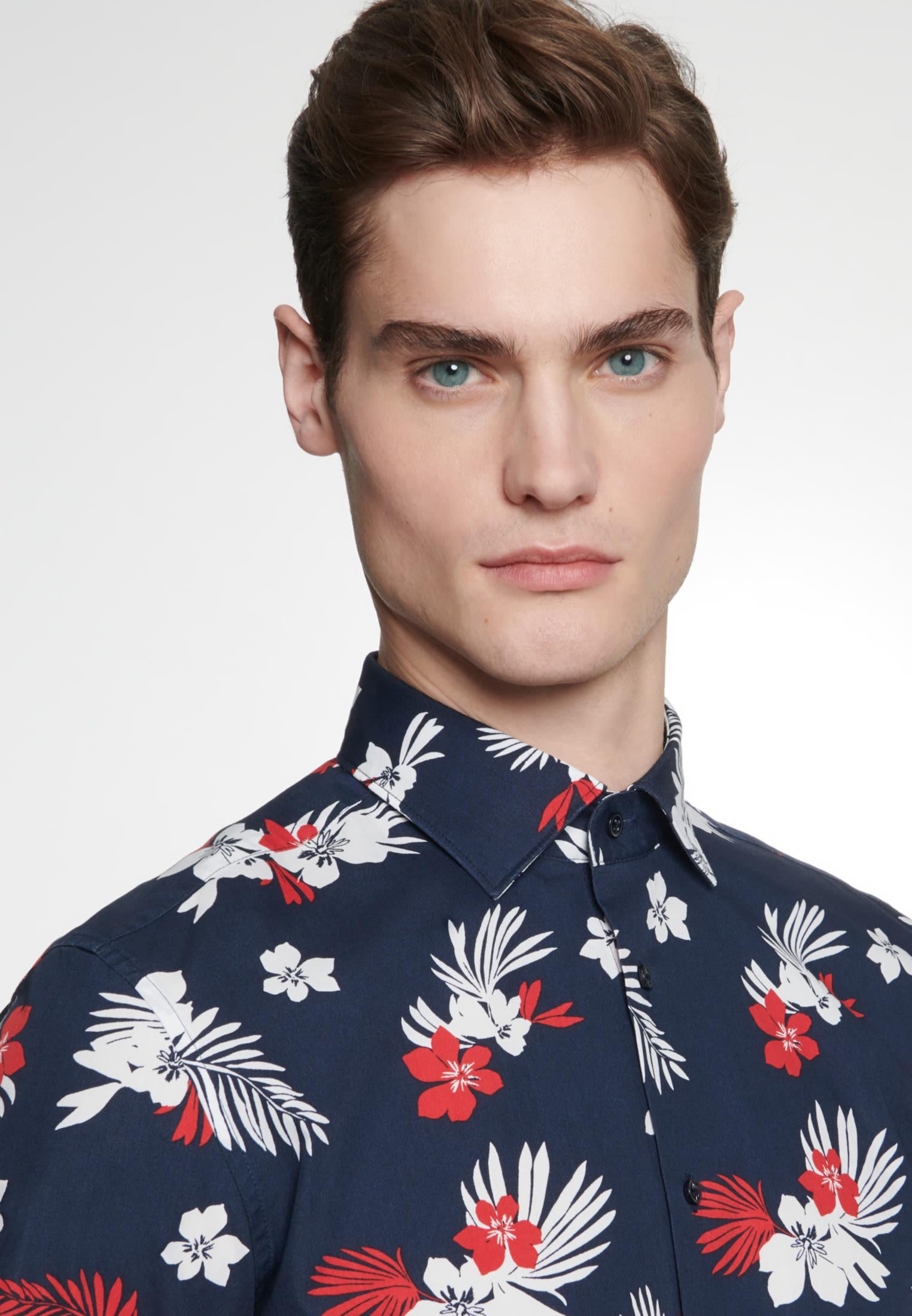 Easy-iron Poplin Short sleeve Business Shirt in Slim with Kent-Collar in Dark blue |  Seidensticker Onlineshop