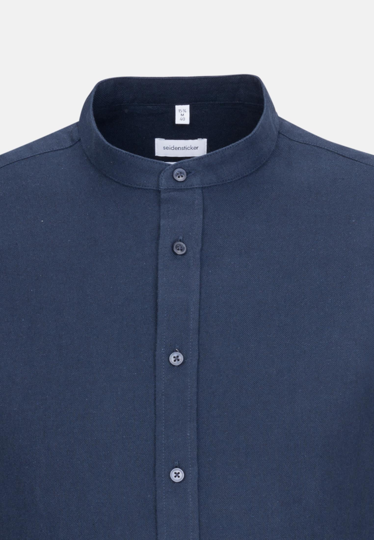 Easy-iron Twill Business Shirt in Slim with Stand-Up Collar in Dark blue |  Seidensticker Onlineshop