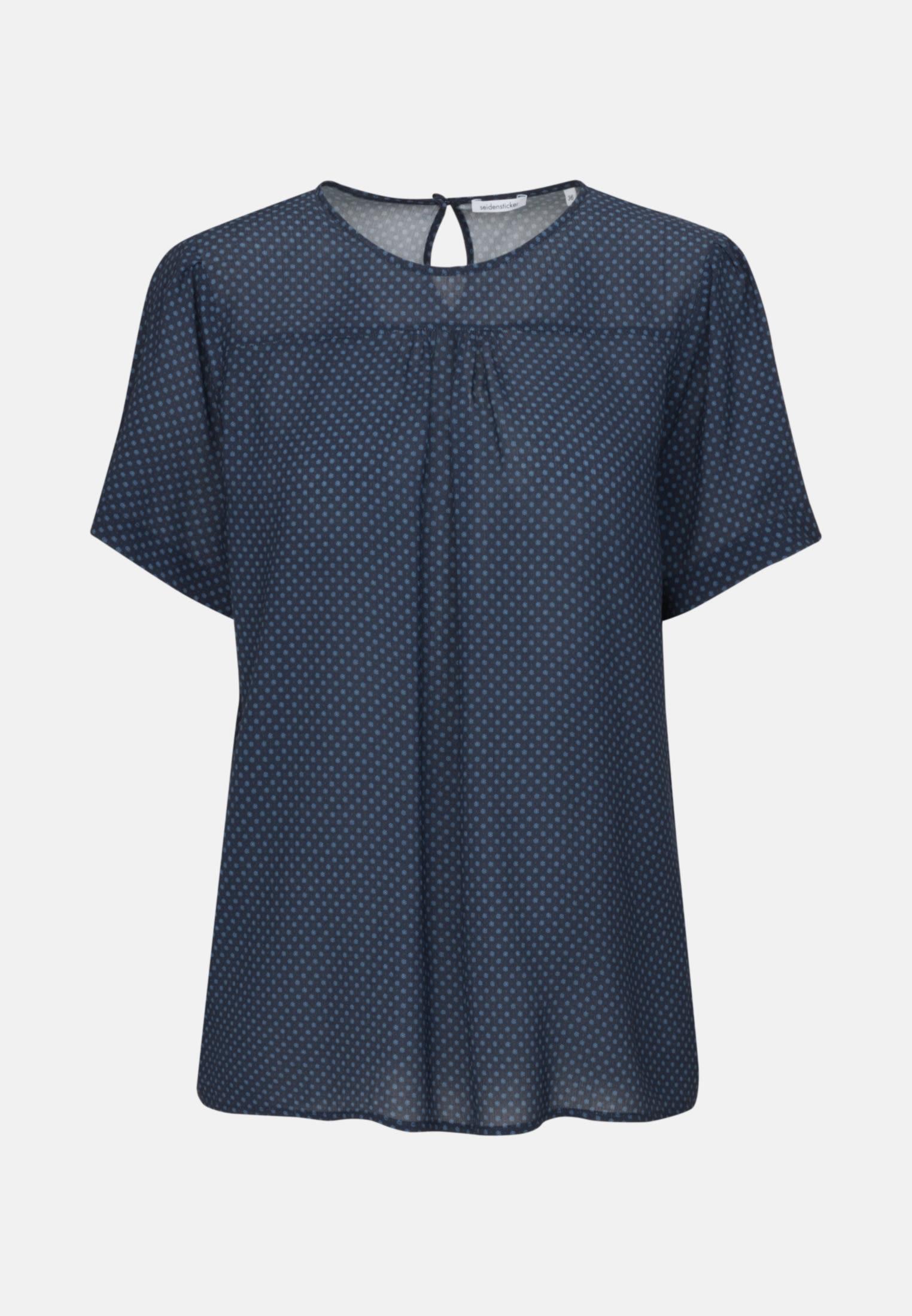 Kurzarm Krepp Shirtbluse aus 100% Viskose in Dunkelblau    Seidensticker Onlineshop