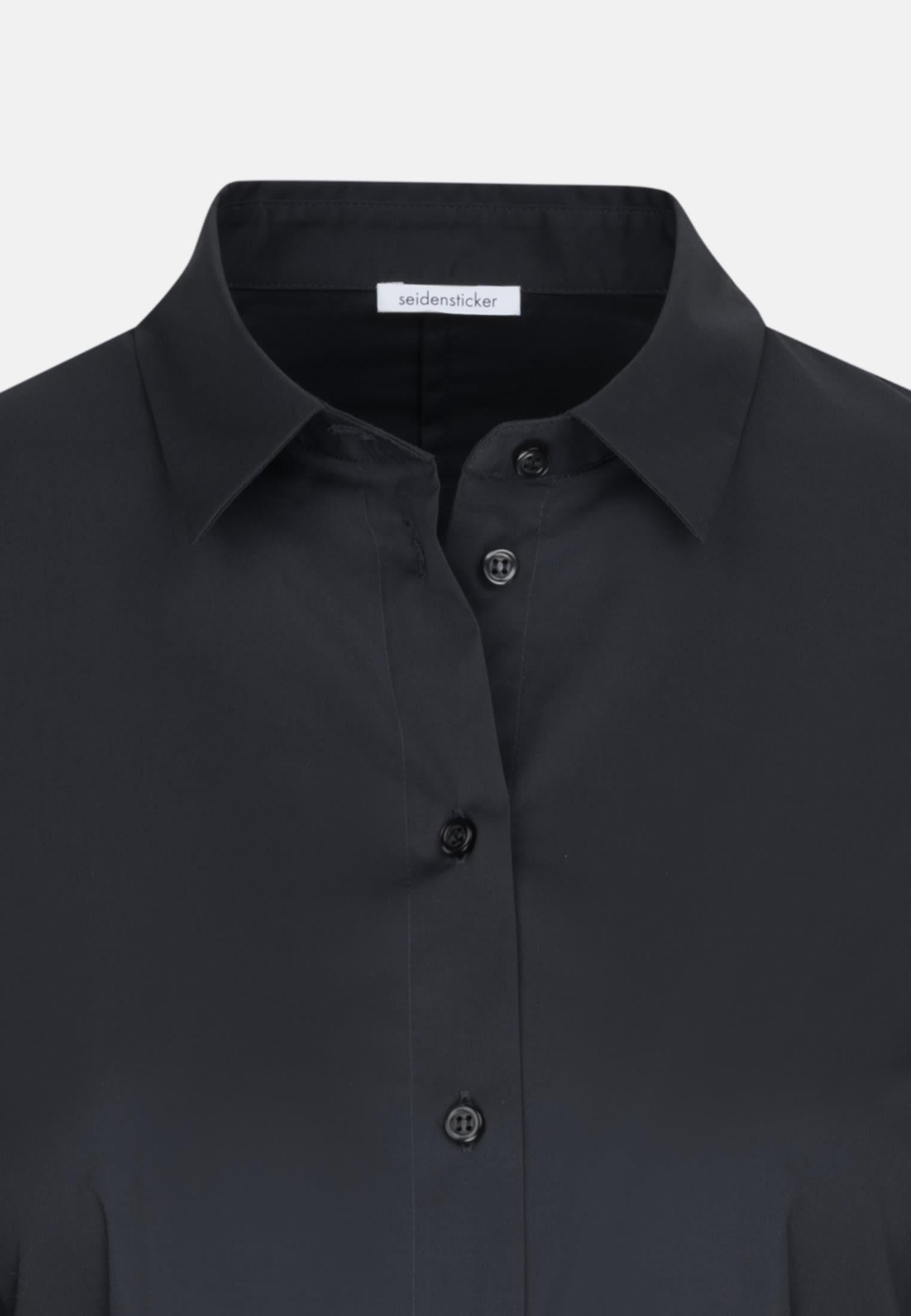 Popeline Bodybluse aus Baumwollmischung in Schwarz |  Seidensticker Onlineshop