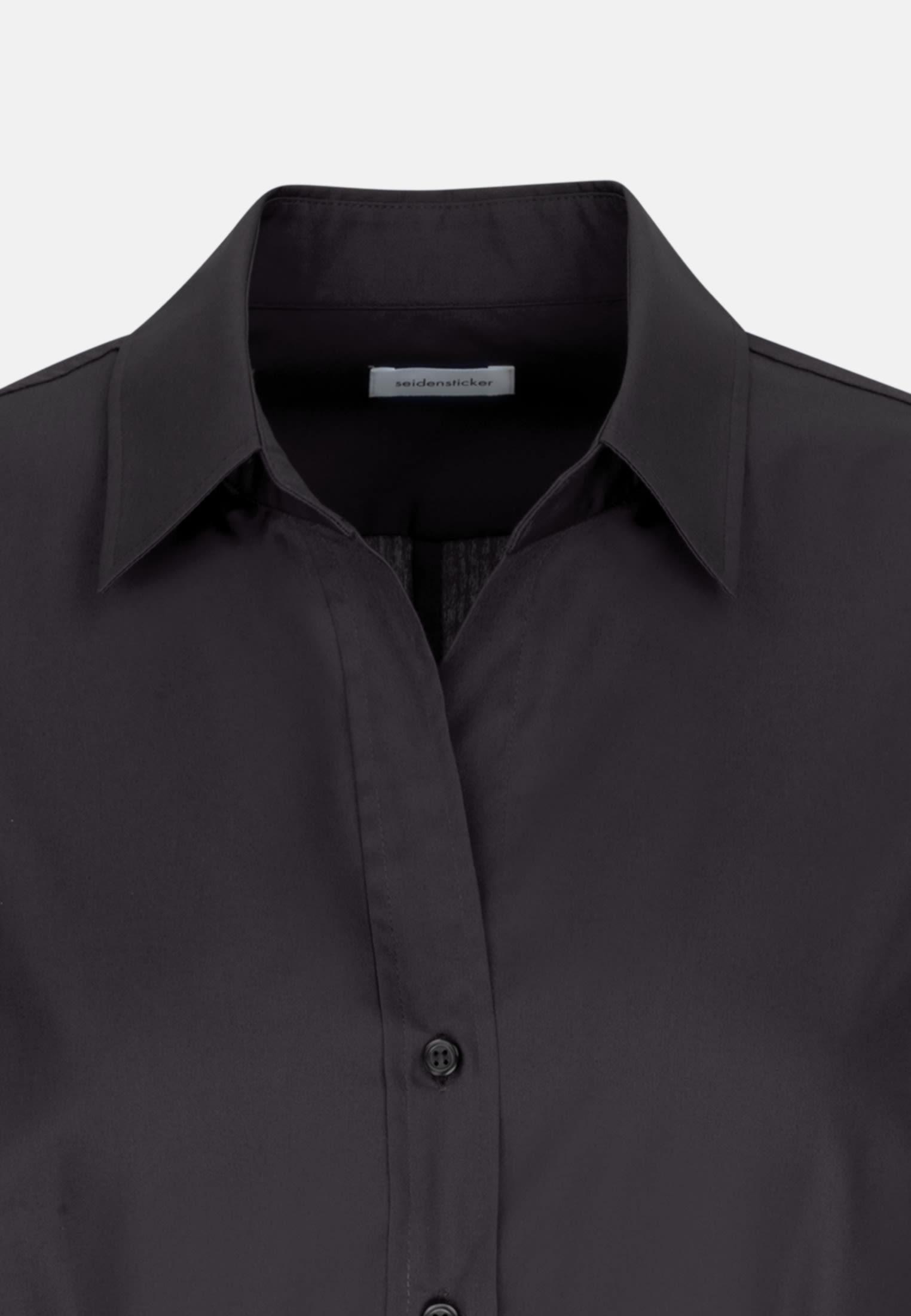 Bügelfreie Fil a fil Hemdbluse aus 100% Baumwolle in Schwarz |  Seidensticker Onlineshop
