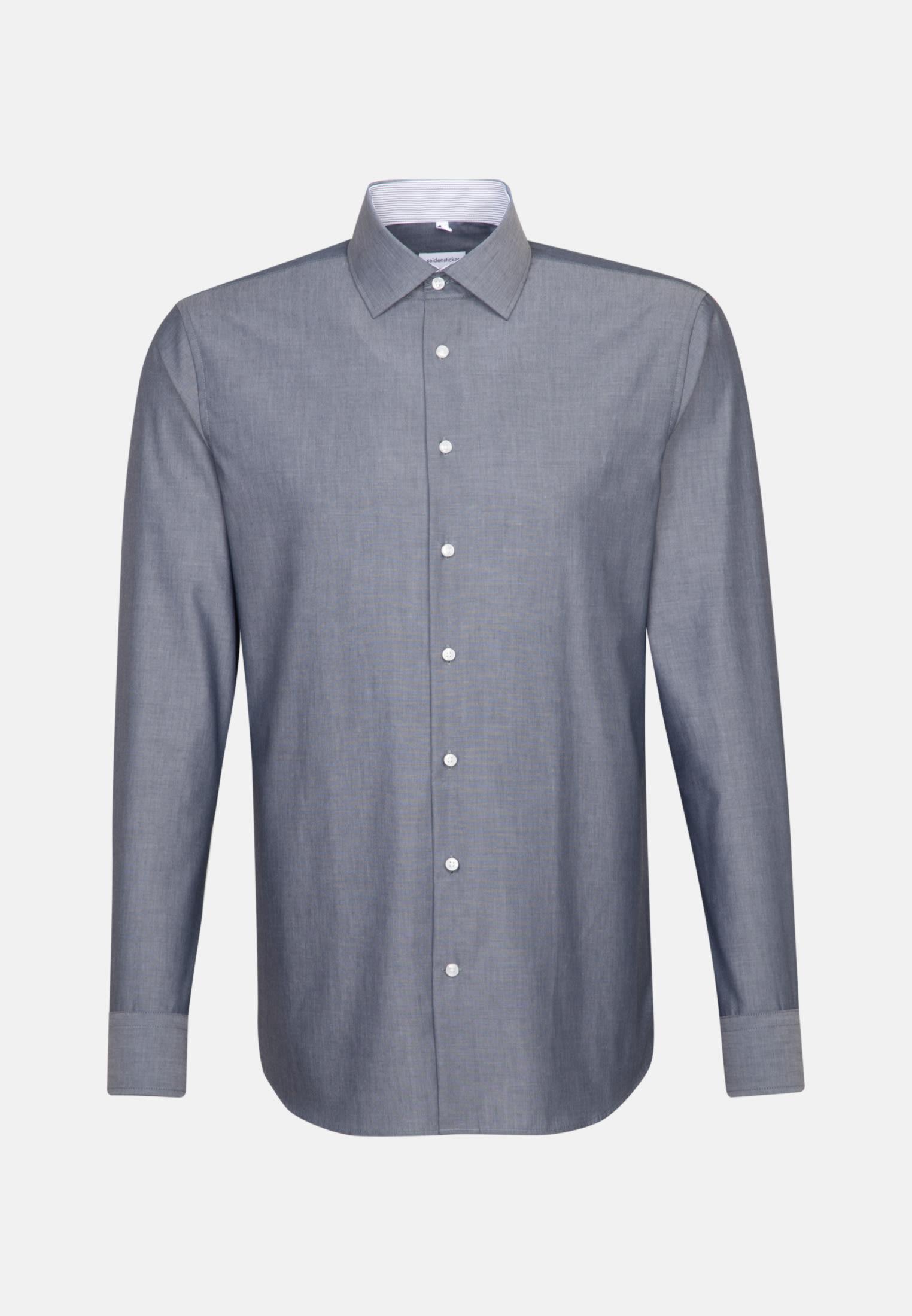 Bügelfreies Chambray Business Hemd in Shaped mit Kentkragen in Dunkelblau    Seidensticker Onlineshop