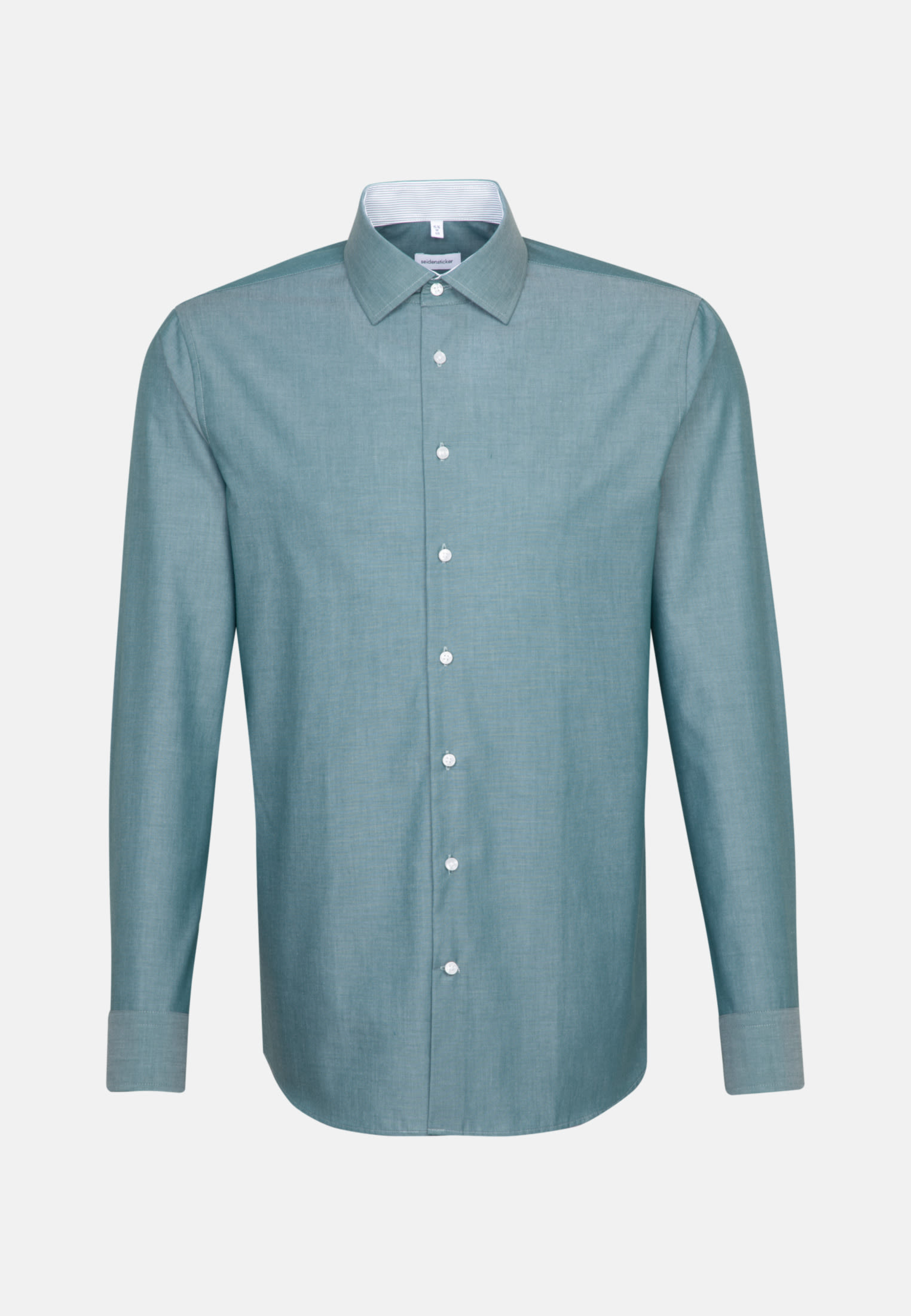 Non-iron Chambray Business Shirt in Shaped with Kent-Collar in Green |  Seidensticker Onlineshop