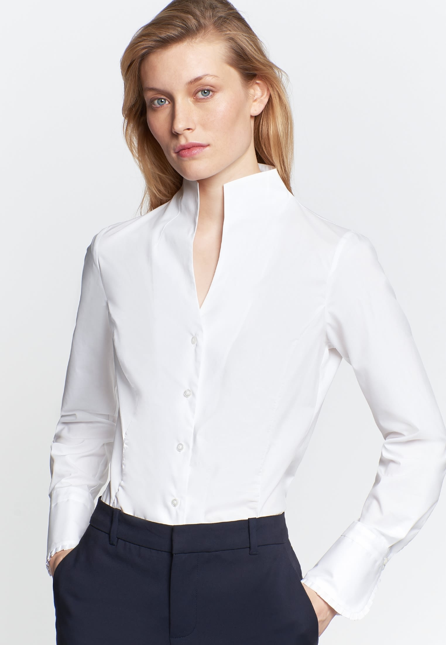 Poplin Chalice Blouse made of cotton blend in White |  Seidensticker Onlineshop