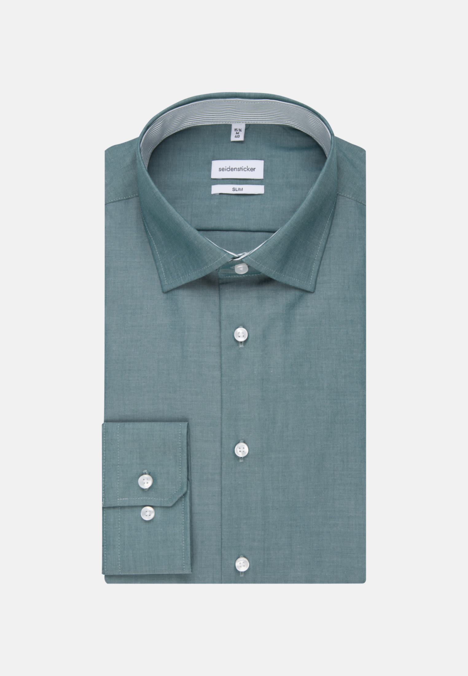 Bügelfreies Chambray Business Hemd in Slim mit Kentkragen in Grün |  Seidensticker Onlineshop