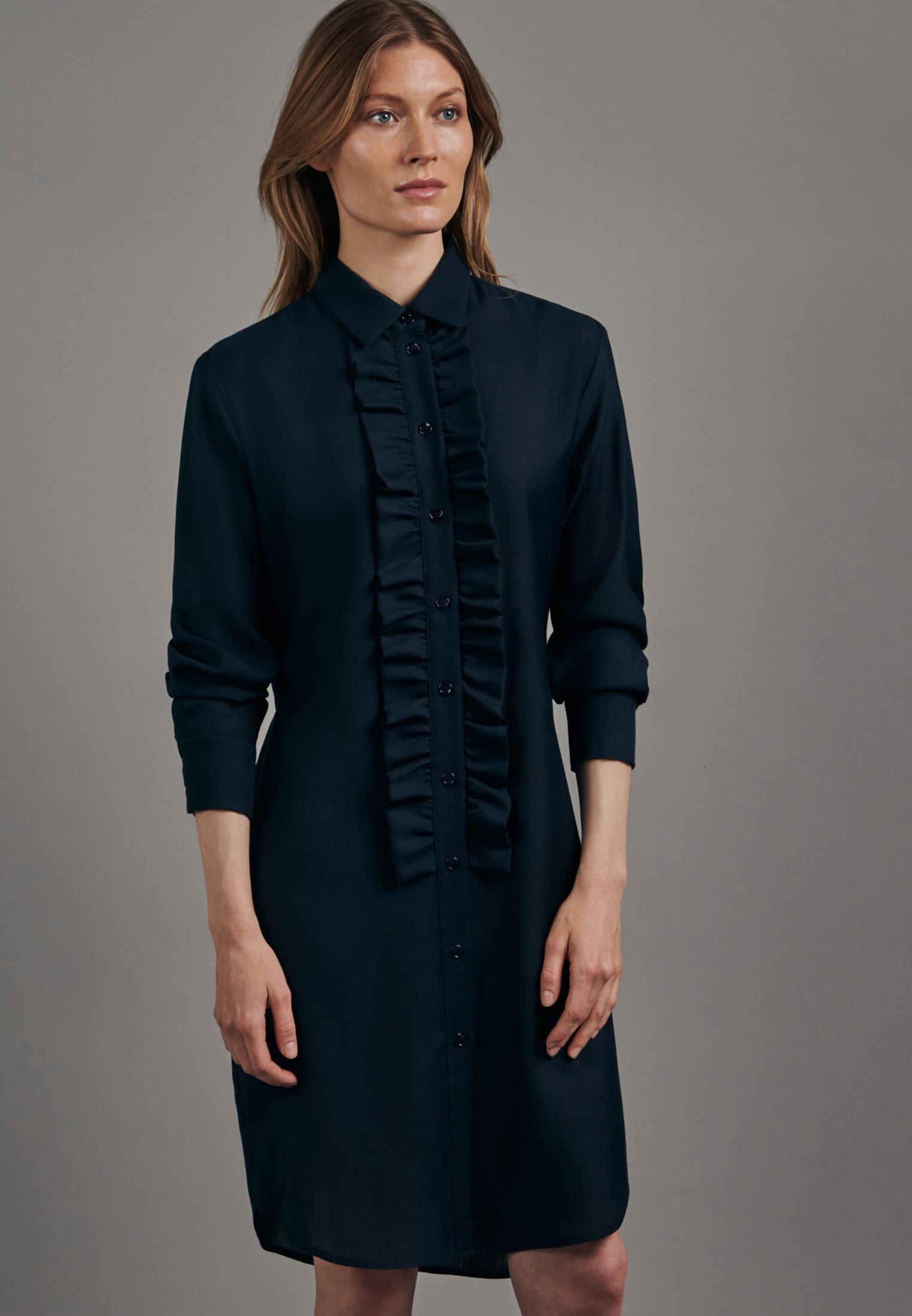 Gabardine Midi Kleid aus Wollmischung in Dunkelblau    Seidensticker Onlineshop