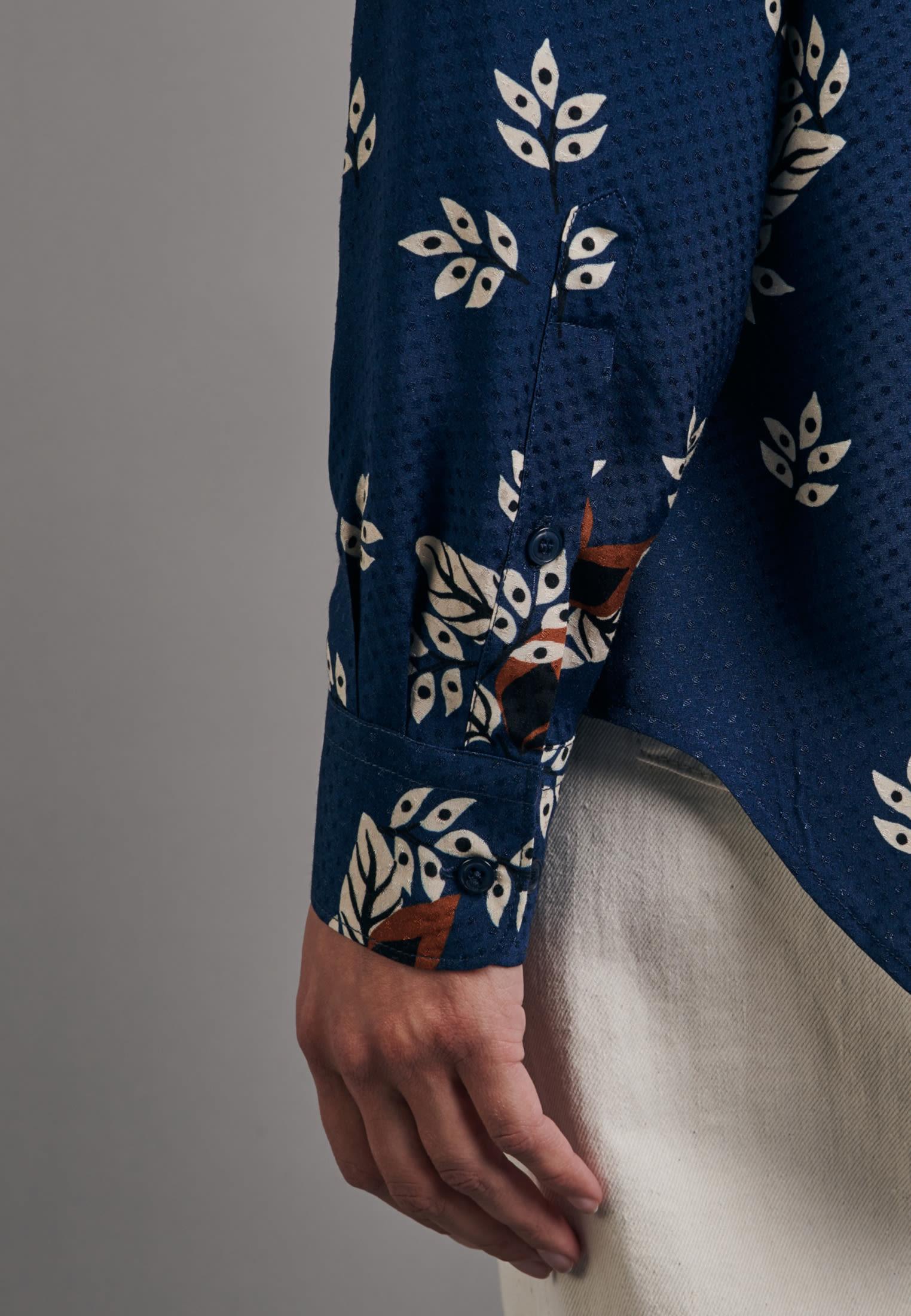 Jacquard Hemdbluse aus 100% Viskose in Mittelblau |  Seidensticker Onlineshop
