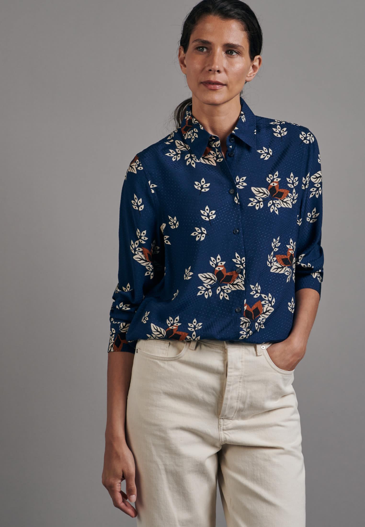 Jacquard Shirt Blouse made of 100% Viscose in Medium blue |  Seidensticker Onlineshop