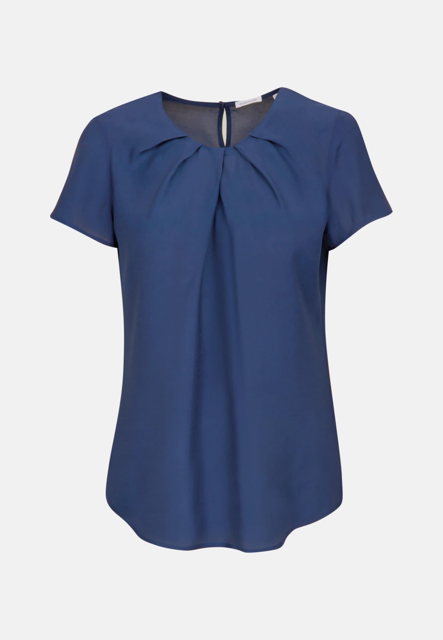Kurzarm Voile Shirtbluse aus 100% Viskose in Mittelblau |  Seidensticker Onlineshop