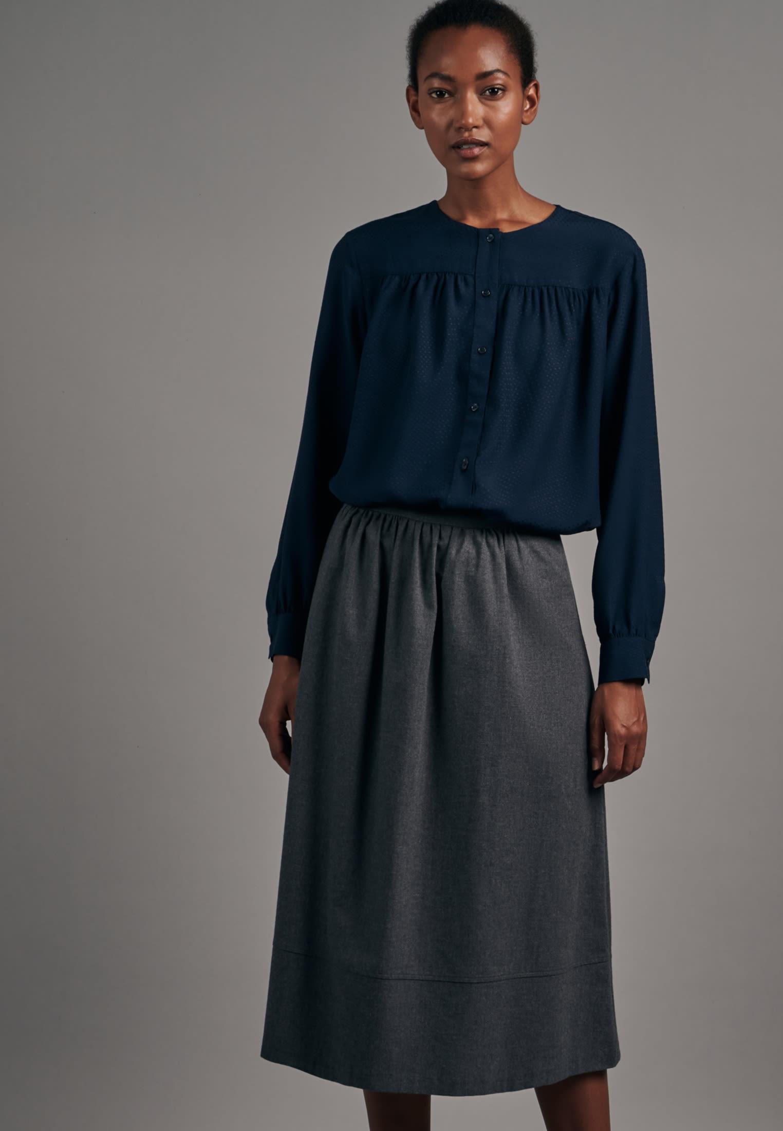 Flannel Midi Skirt made of 100% Cotton in Grey |  Seidensticker Onlineshop