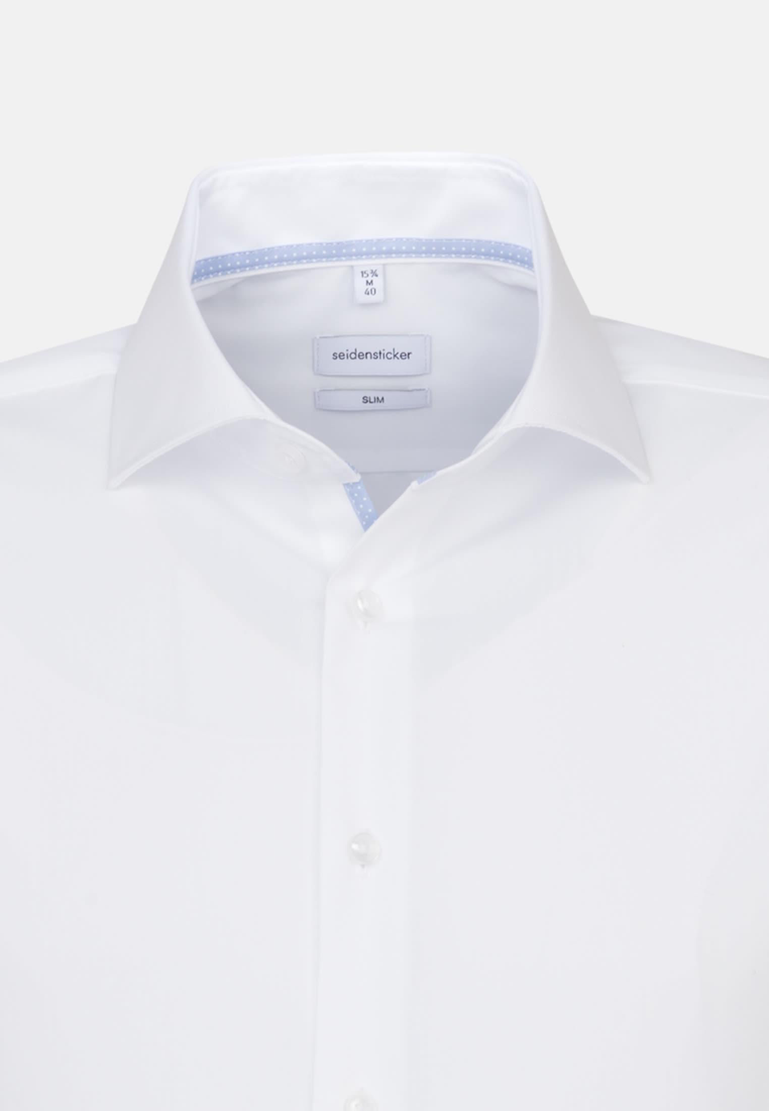 Non-iron Fil a fil Short sleeve Business Shirt in Slim with Kent-Collar in White |  Seidensticker Onlineshop