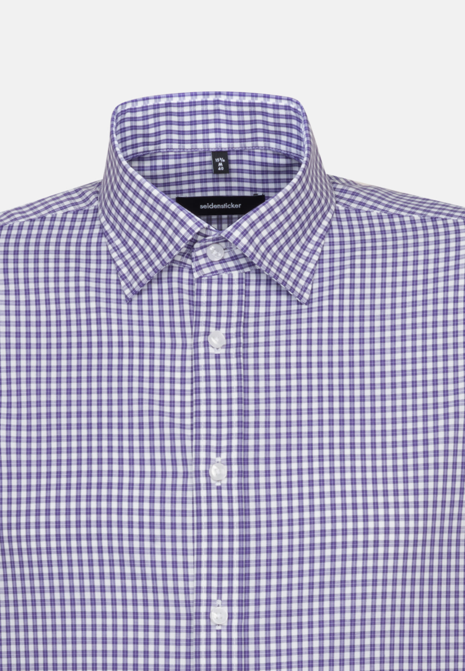 Non-iron Poplin Business Shirt in Shaped with Covered-Button-Down-Collar in Purple |  Seidensticker Onlineshop