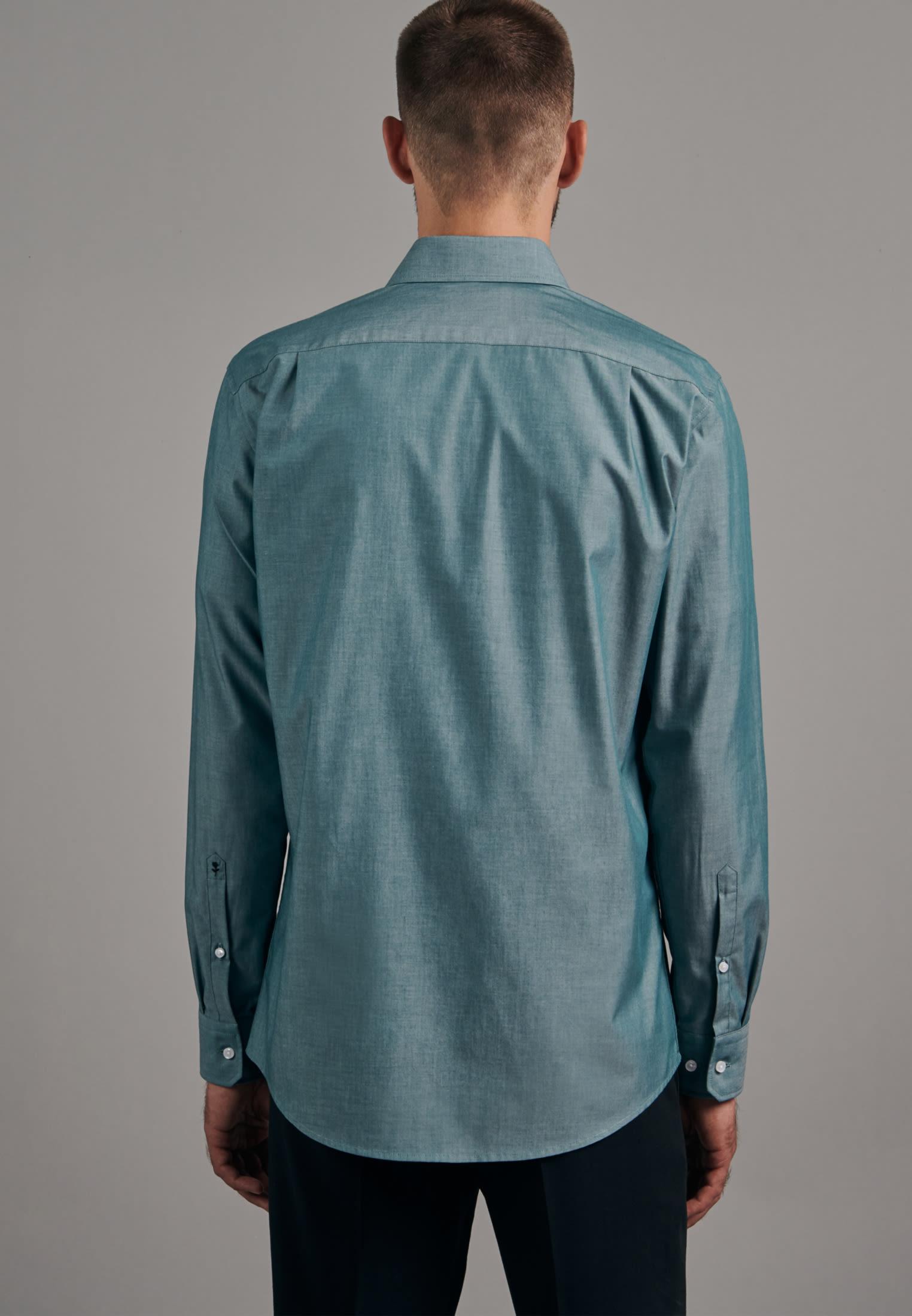 Bügelfreies Chambray Business Hemd in Regular mit Kentkragen in Grün |  Seidensticker Onlineshop