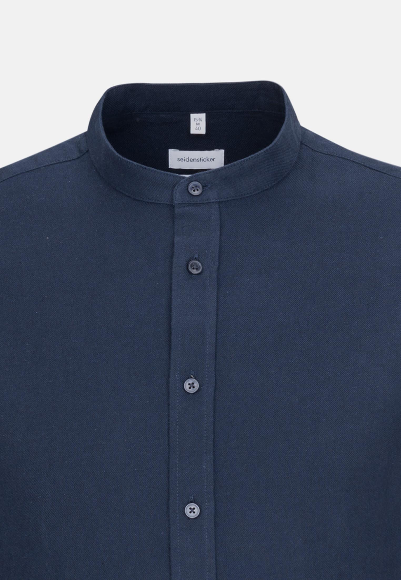 Bügelleichtes Twill Business Hemd in Regular mit Stehkragen in Dunkelblau |  Seidensticker Onlineshop
