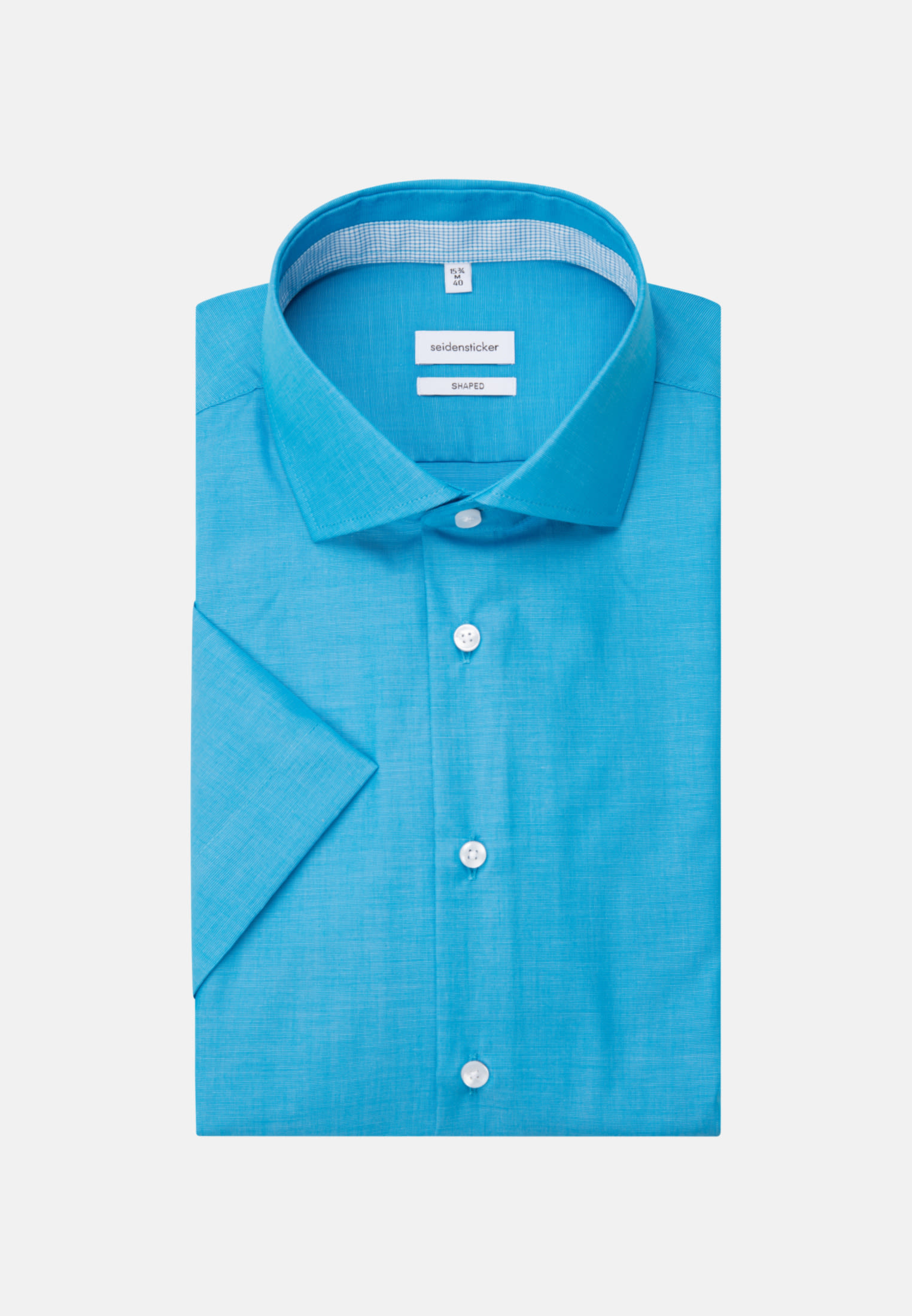 Bügelfreies Fil a fil Kurzarm Business Hemd in Shaped mit Kentkragen in Türkis/Petrol |  Seidensticker Onlineshop