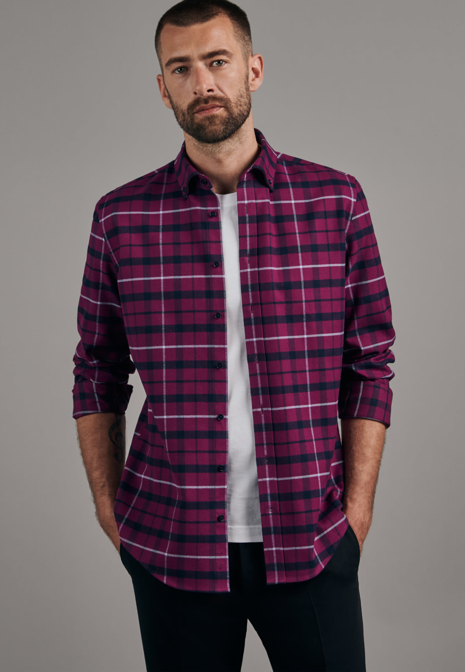 Flanell Business Hemd in Slim mit Button-Down-Kragen in Rosa/Pink |  Seidensticker Onlineshop