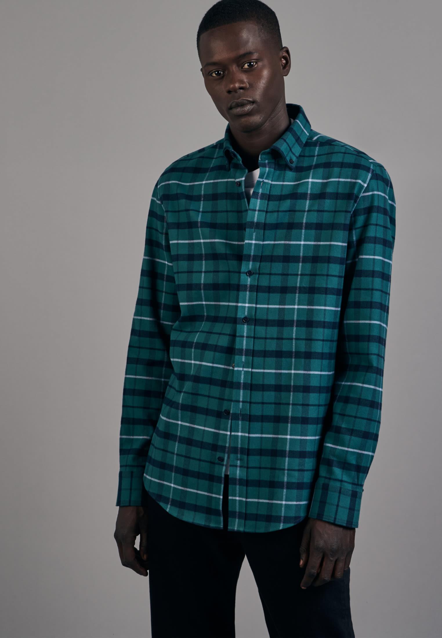 Flannel Business Shirt in Slim with Button-Down-Collar in Green |  Seidensticker Onlineshop