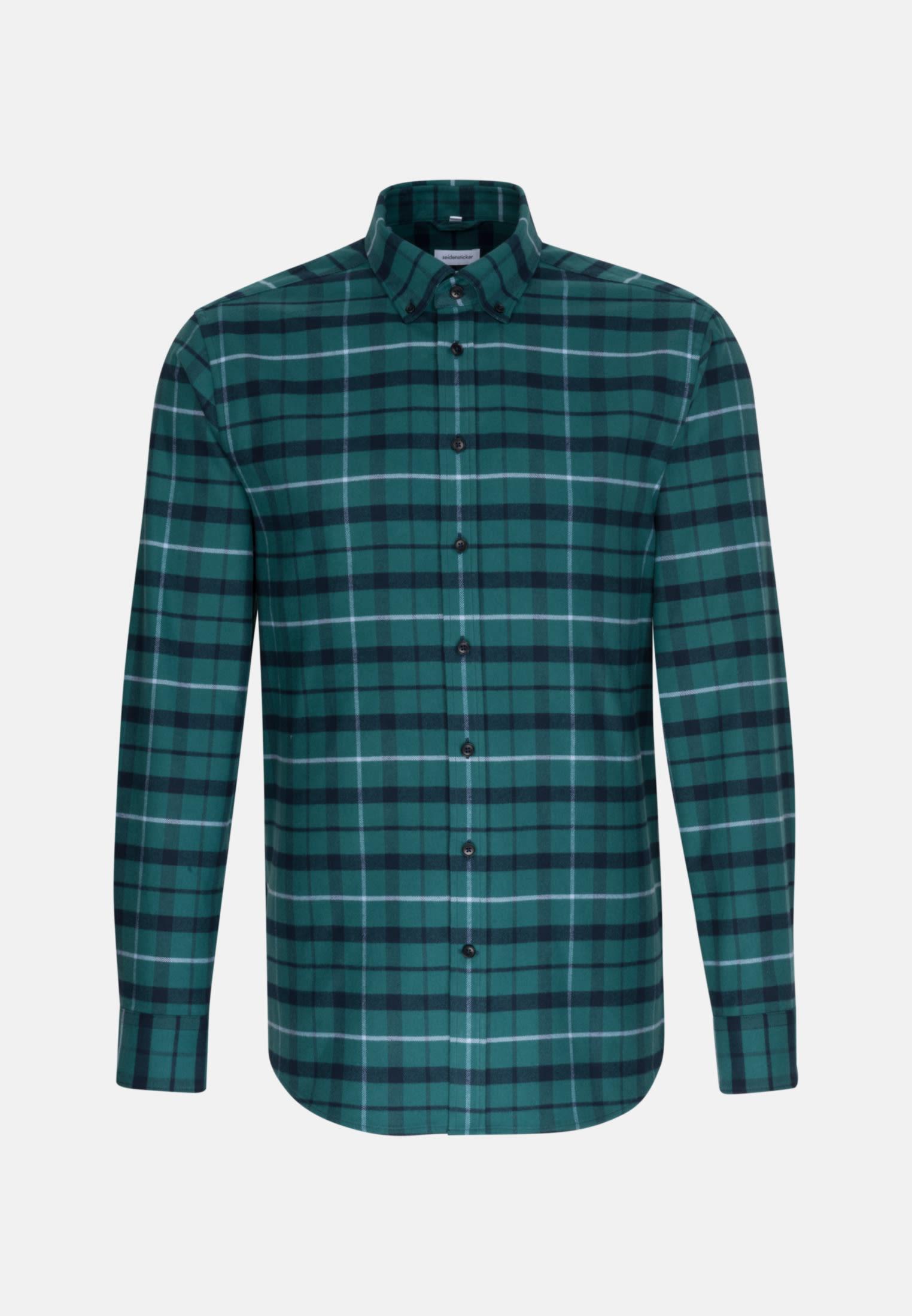 Flanell Business Hemd in Regular mit Button-Down-Kragen in Grün    Seidensticker Onlineshop