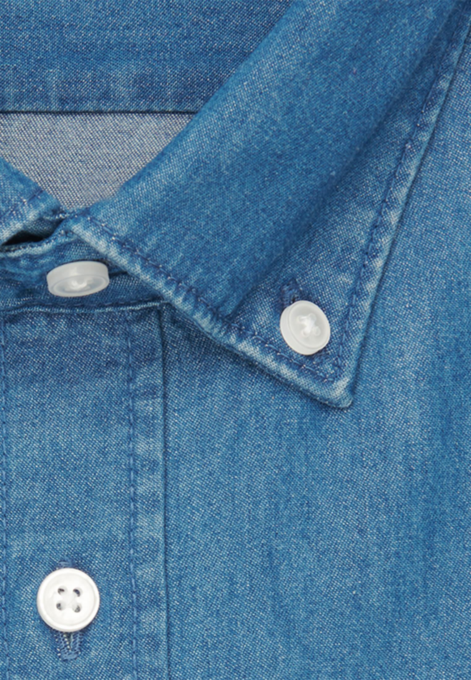 Easy-iron Denim Business Shirt in Slim with Button-Down-Collar in Medium blue |  Seidensticker Onlineshop