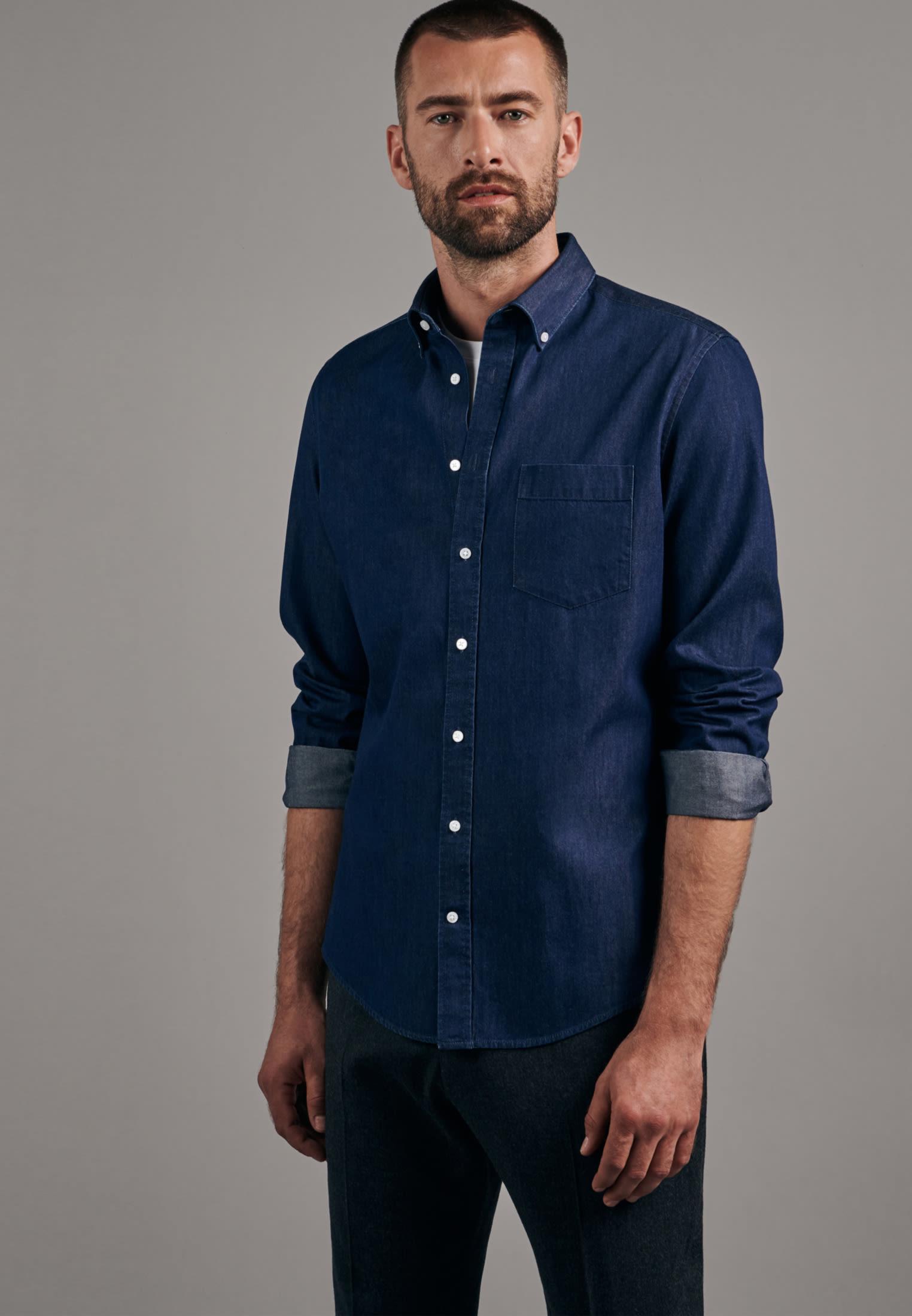 Bügelleichtes Denim Business Hemd in Slim mit Button-Down-Kragen in Dunkelblau |  Seidensticker Onlineshop