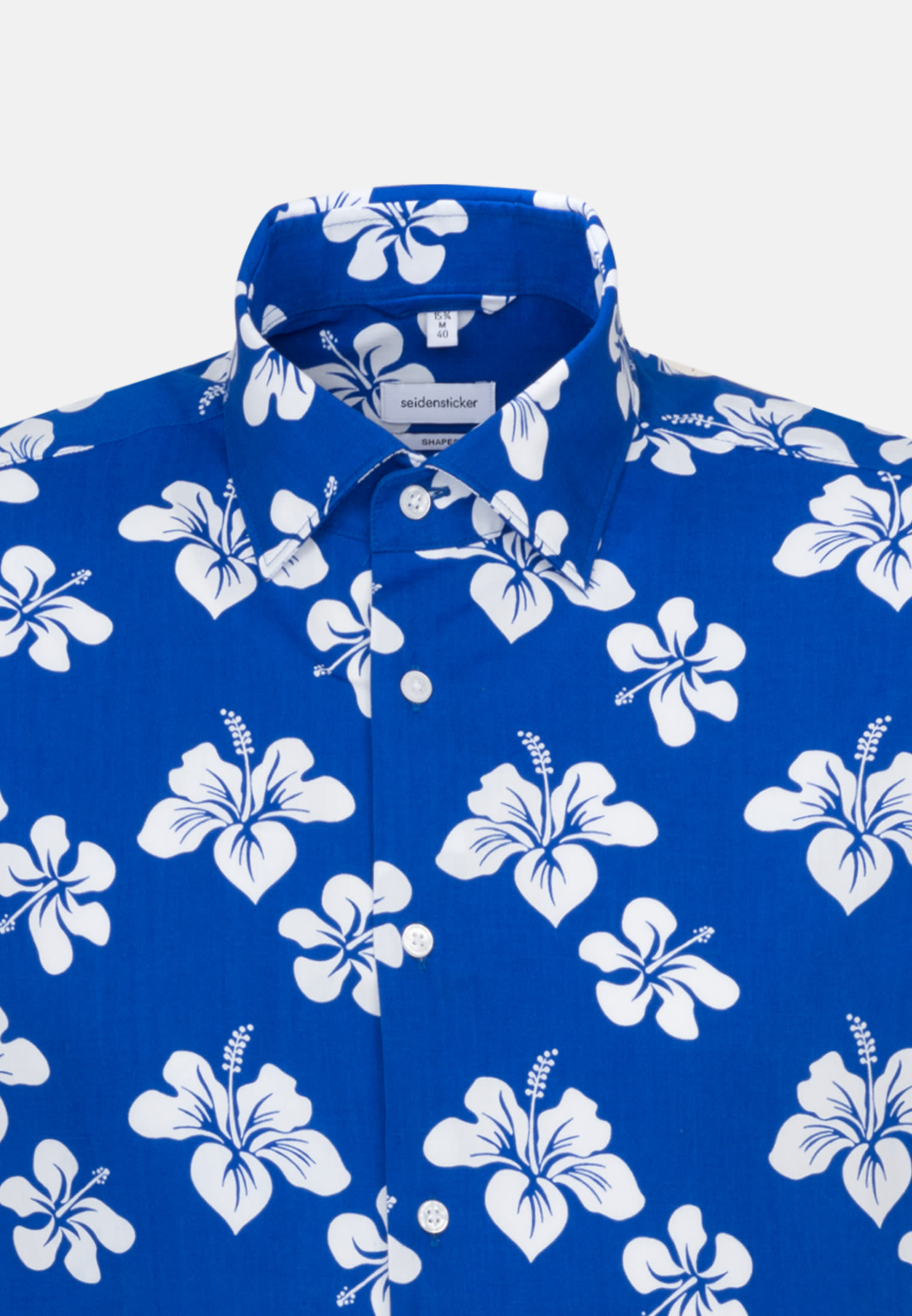 Easy-iron Poplin Short sleeve Business Shirt in Shaped with Kent-Collar in Medium blue |  Seidensticker Onlineshop