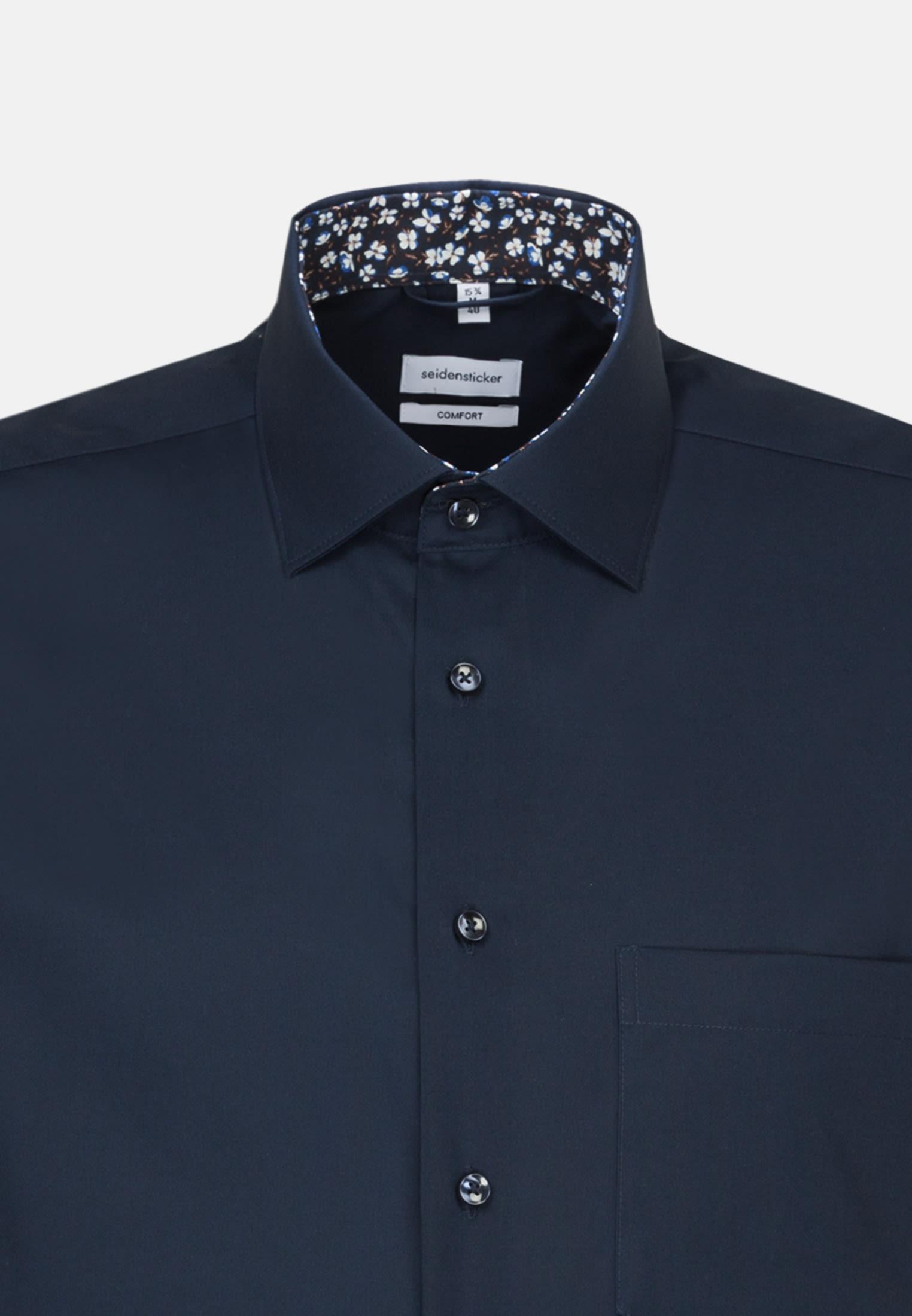 Bügelfreies Popeline Kurzarm Business Hemd in Comfort mit Kentkragen in Dunkelblau |  Seidensticker Onlineshop