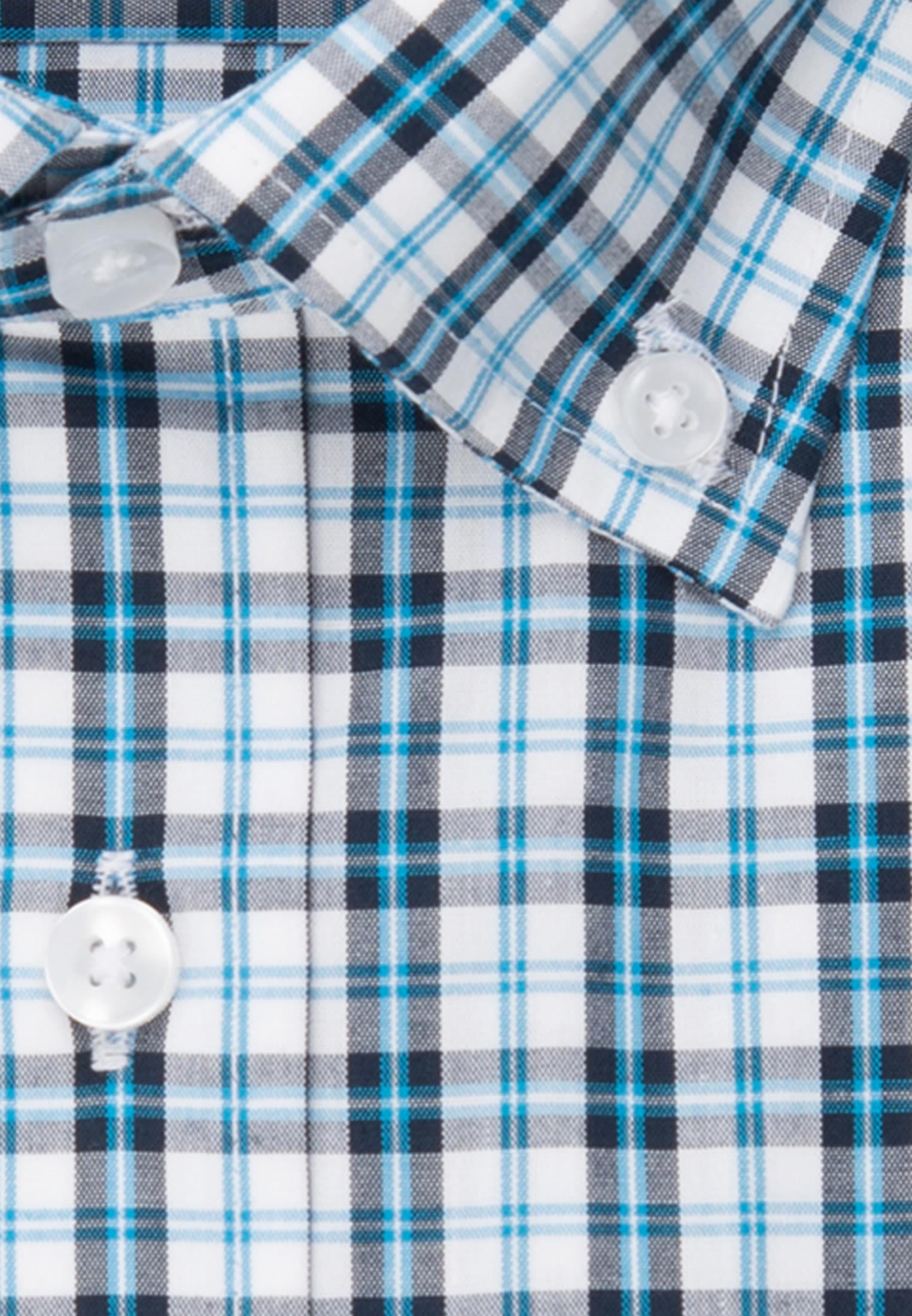 Bügelfreies Popeline Kurzarm Business Hemd in Regular mit Button-Down-Kragen in Türkis/Petrol |  Seidensticker Onlineshop