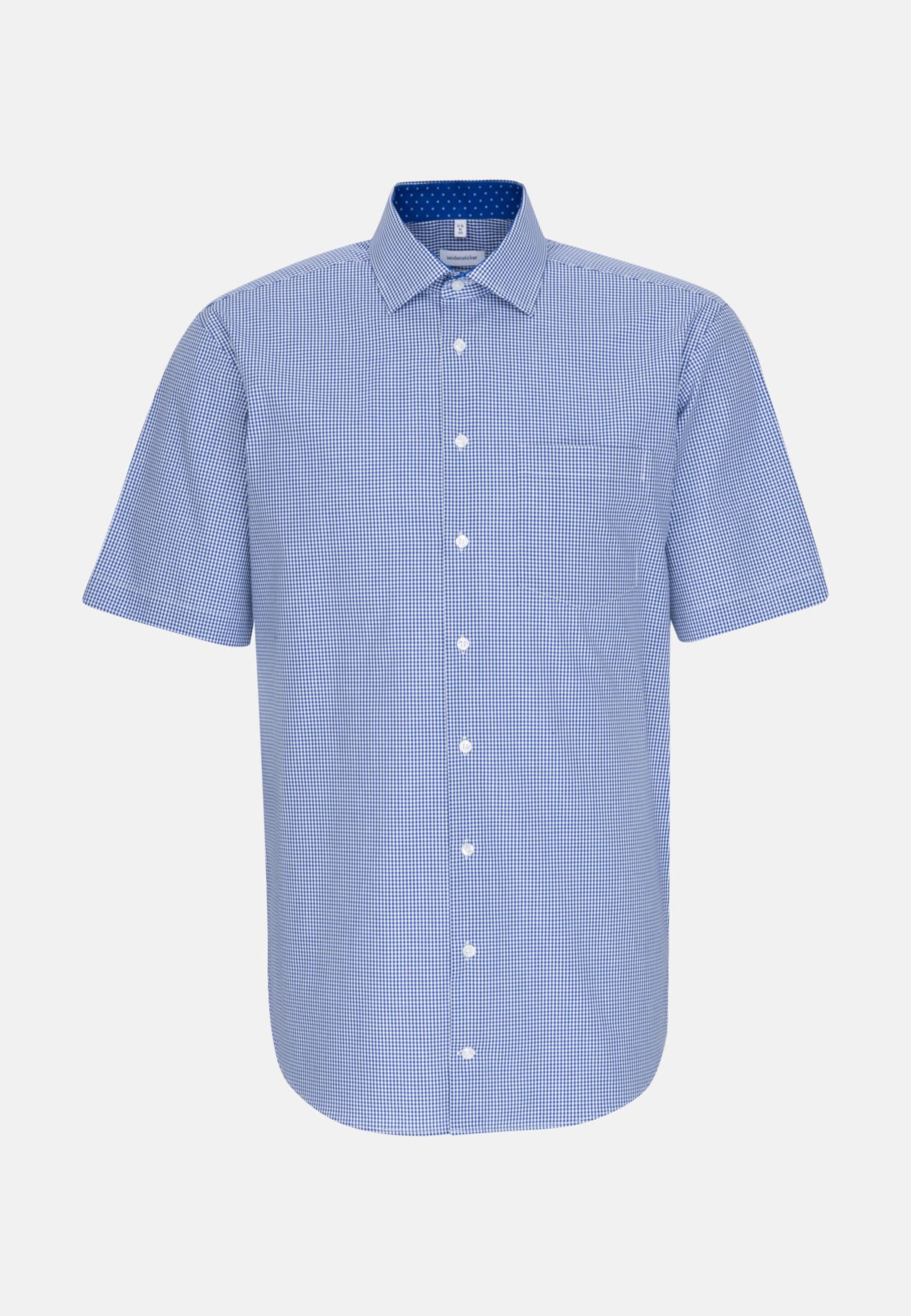 Bügelfreies Popeline Kurzarm Business Hemd in Comfort mit Kentkragen in Mittelblau    Seidensticker Onlineshop