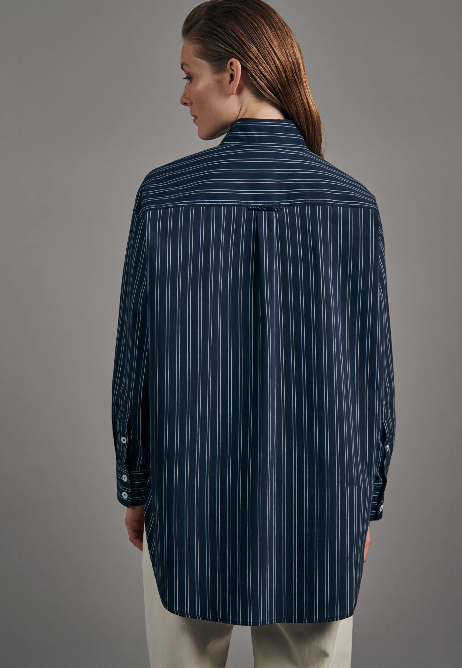 Poplin Long Blouse made of viscose blend in Dark blue |  Seidensticker Onlineshop