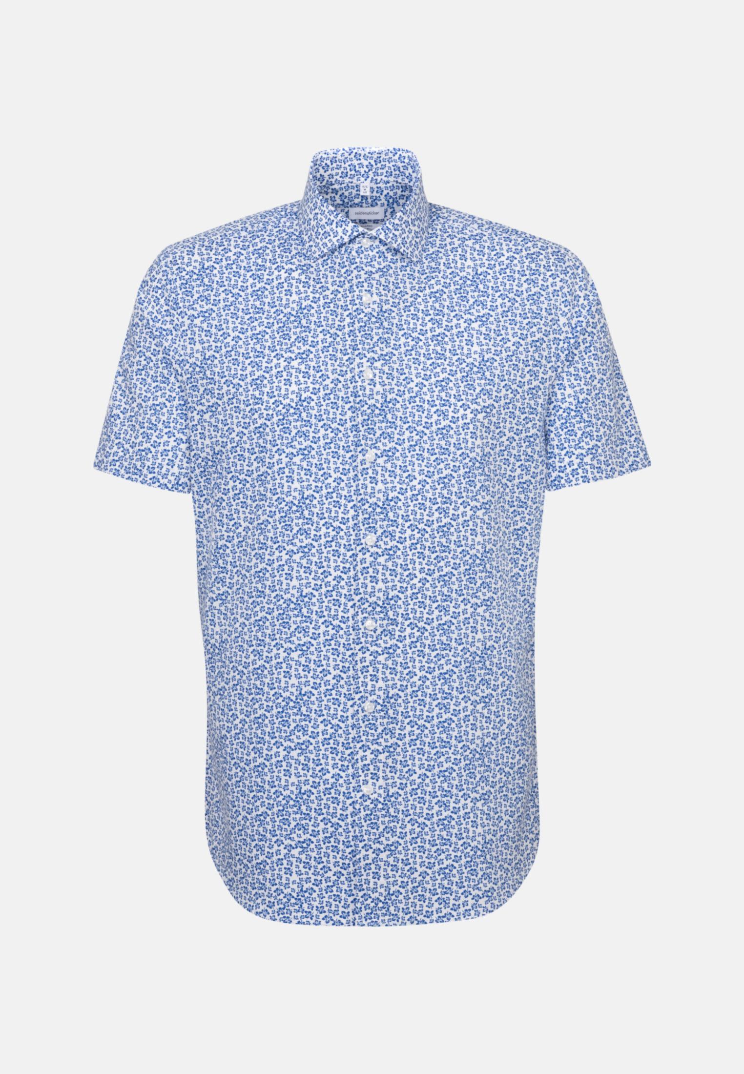 Easy-iron Poplin Short sleeve Business Shirt in Shaped with Kent-Collar in Medium blue |  Seidensticker Onlineshop