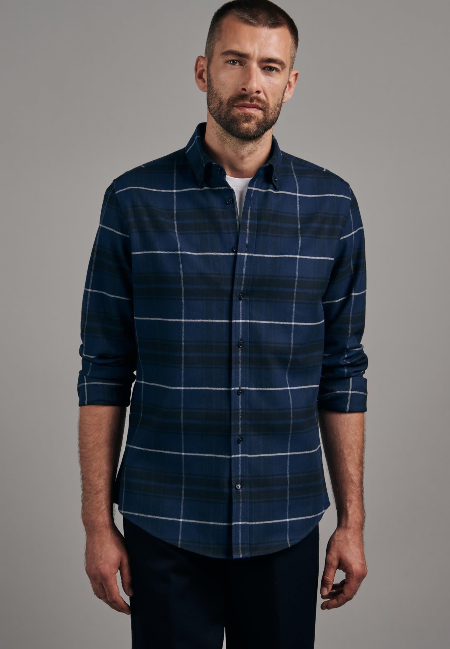 Flanell Business Hemd in X-Slim mit Button-Down-Kragen in Dunkelblau |  Seidensticker Onlineshop