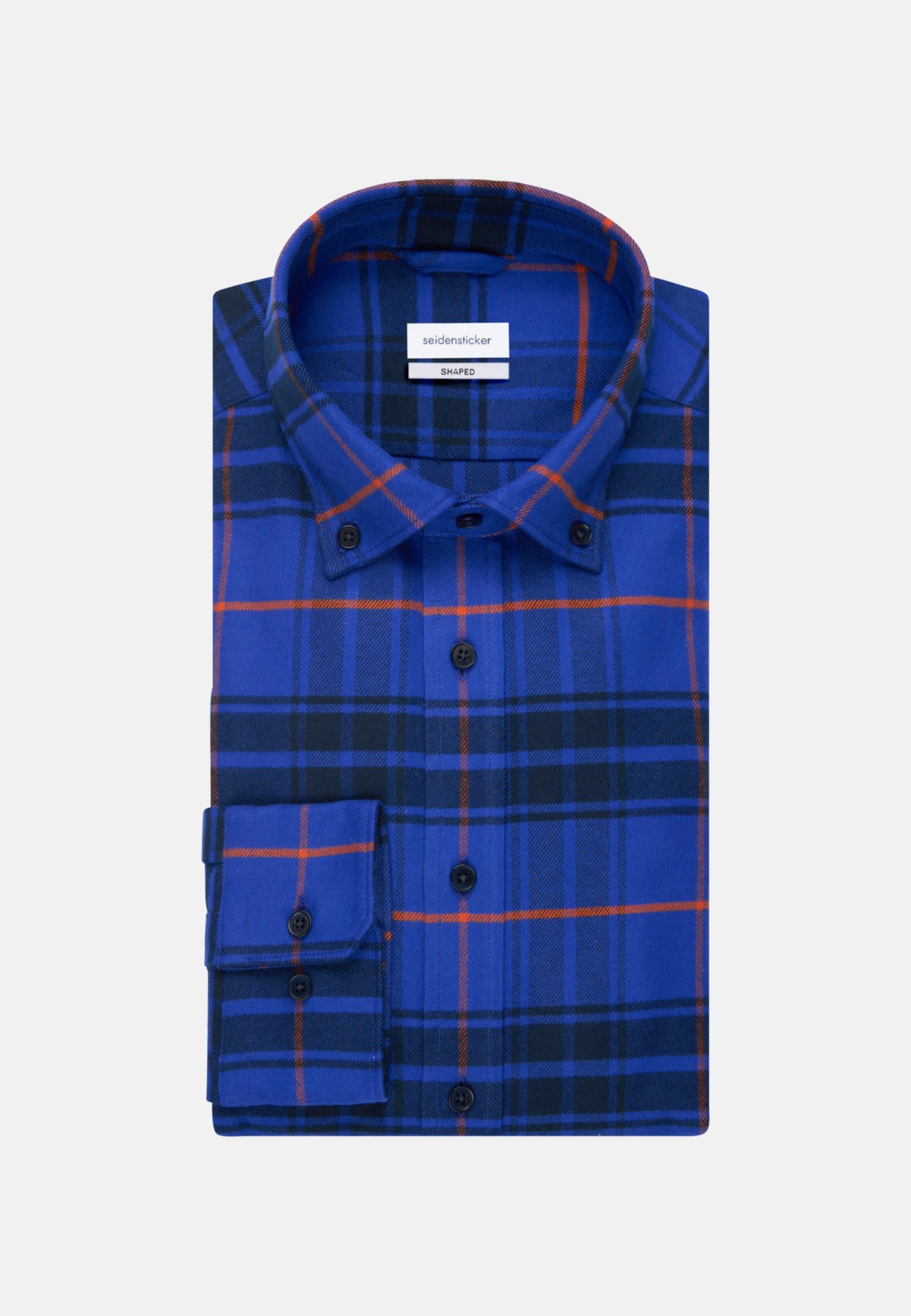 Flanell Business Hemd in Shaped mit Button-Down-Kragen in Mittelblau    Seidensticker Onlineshop