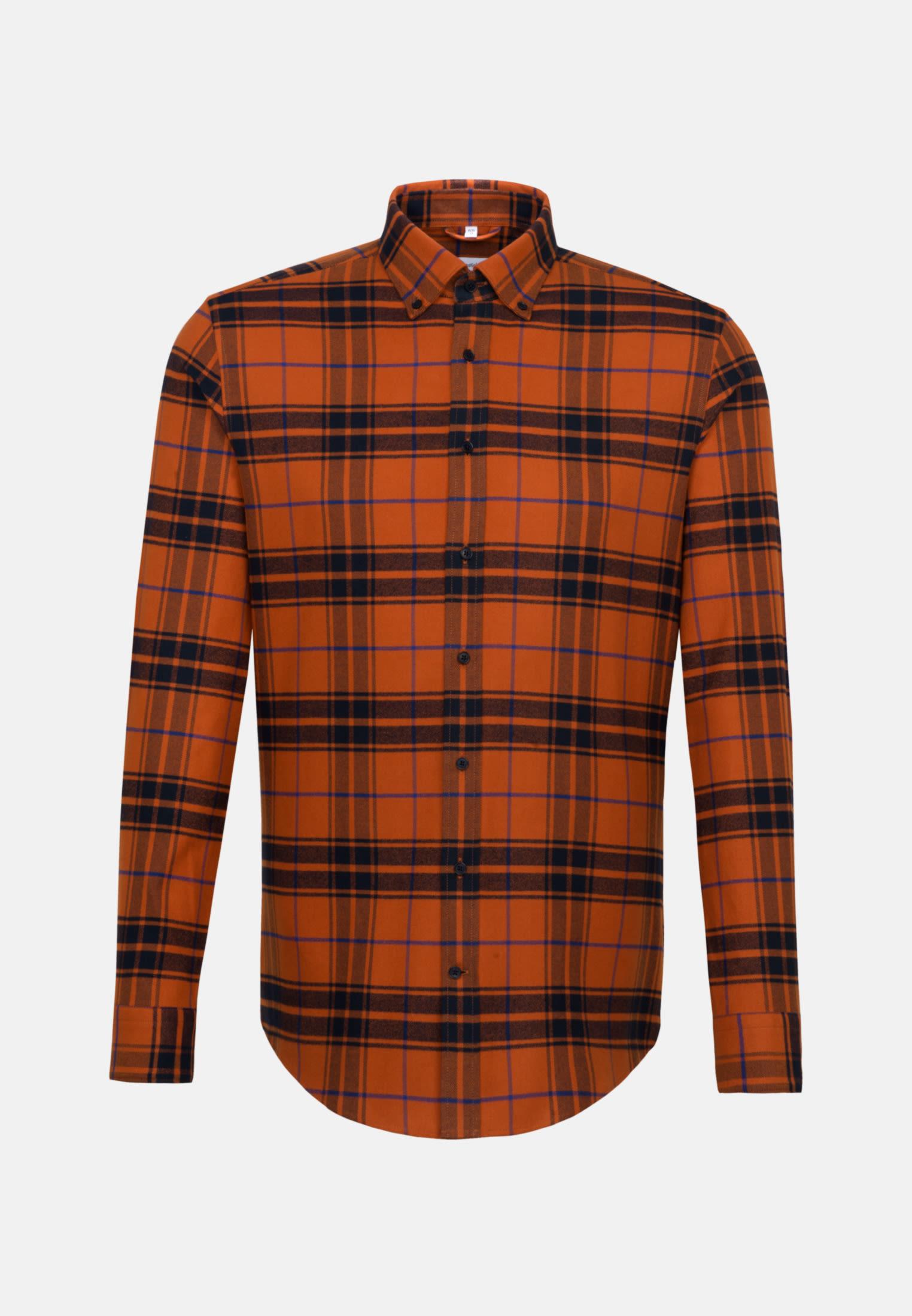 Flannel Business Shirt in Shaped with Button-Down-Collar in Orange |  Seidensticker Onlineshop