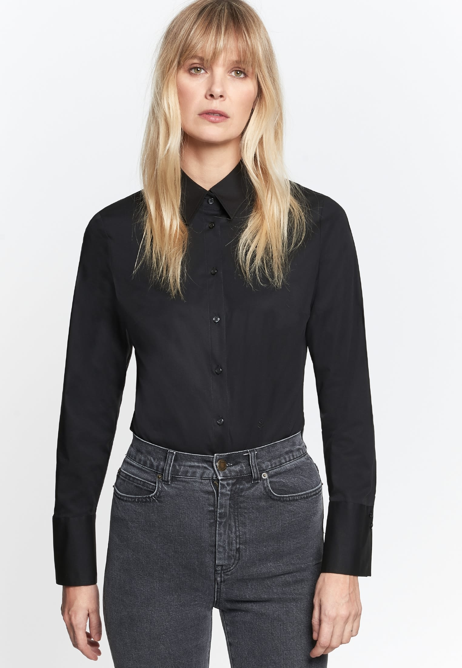 Poplin Body Blouse made of cotton blend in Black |  Seidensticker Onlineshop