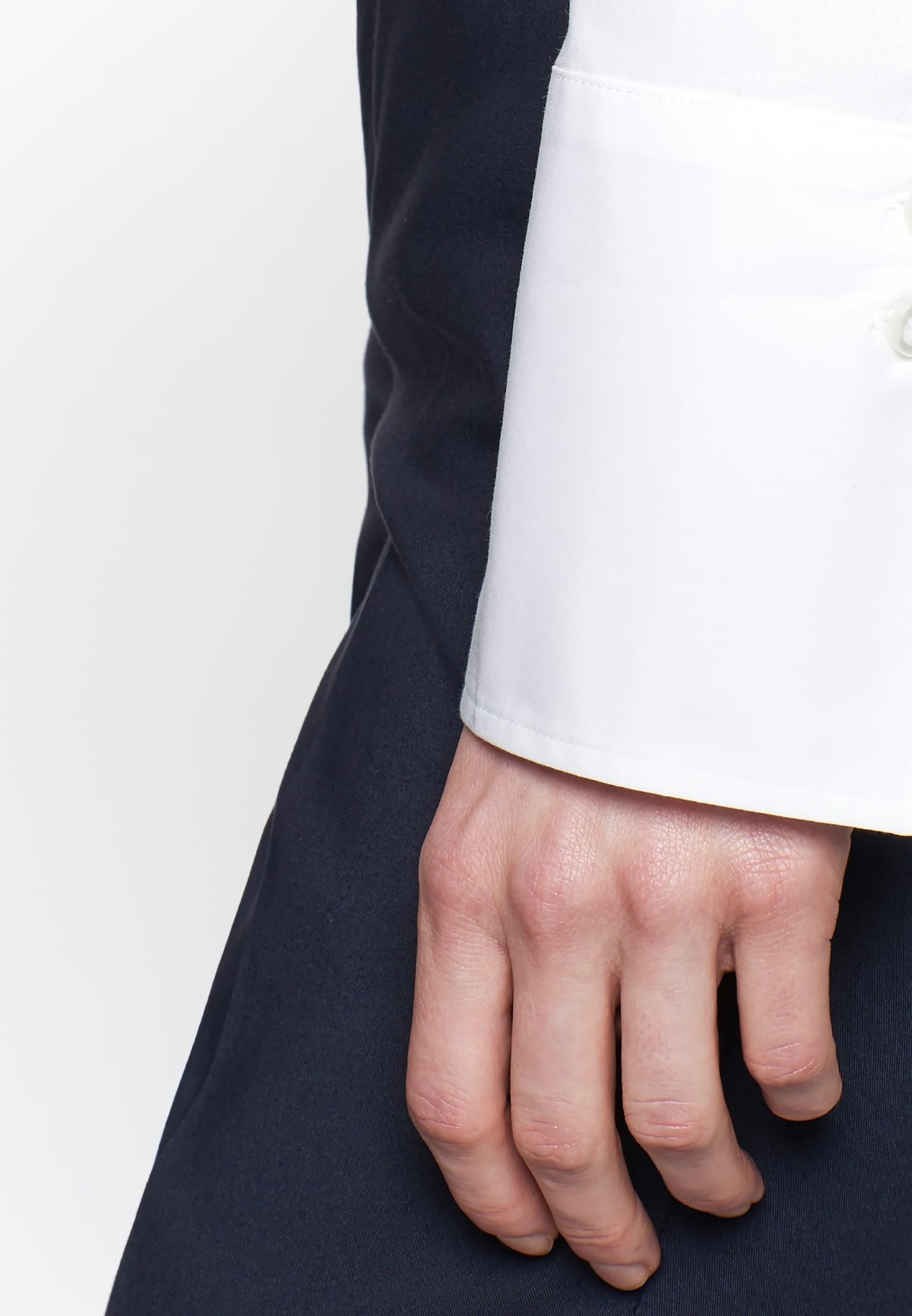 Popeline Bodybluse aus 96% Baumwolle 4% Elastan in Weiß |  Seidensticker Onlineshop
