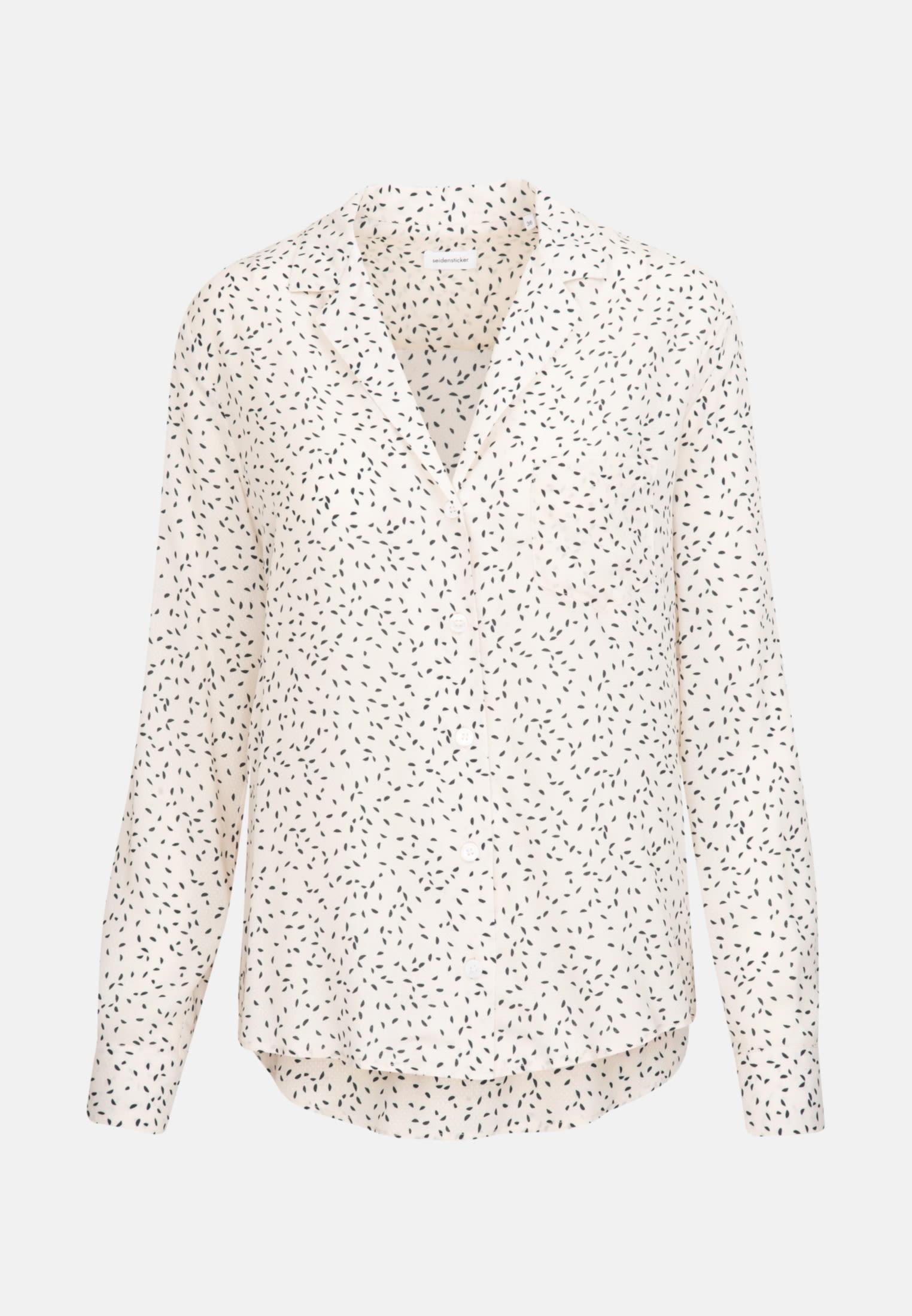 Jacquard Lapel Collar Blouse made of 100% Viscose in Ecru |  Seidensticker Onlineshop