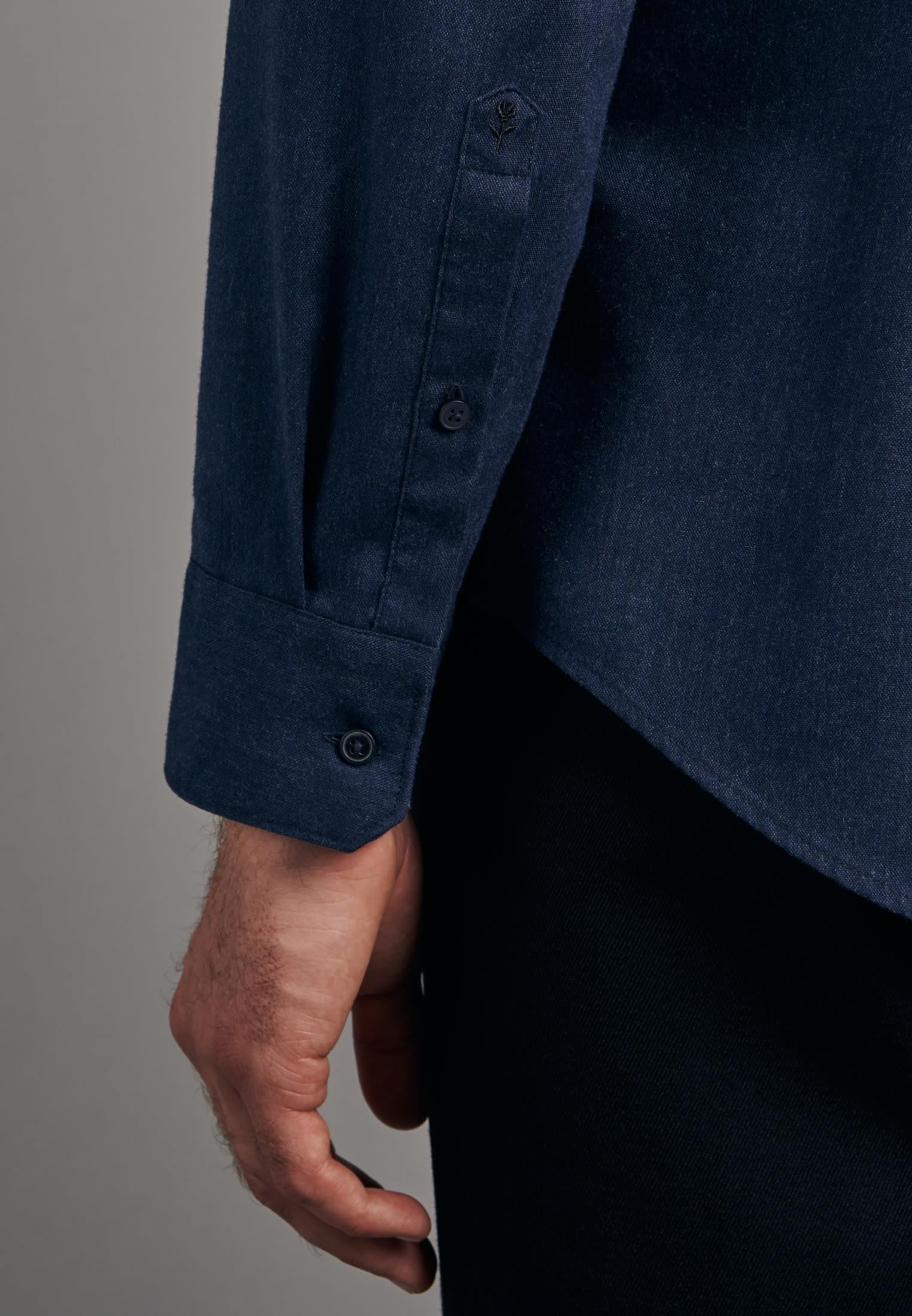Panama Business Shirt in Shaped with Button-Down-Collar in Dark blue |  Seidensticker Onlineshop
