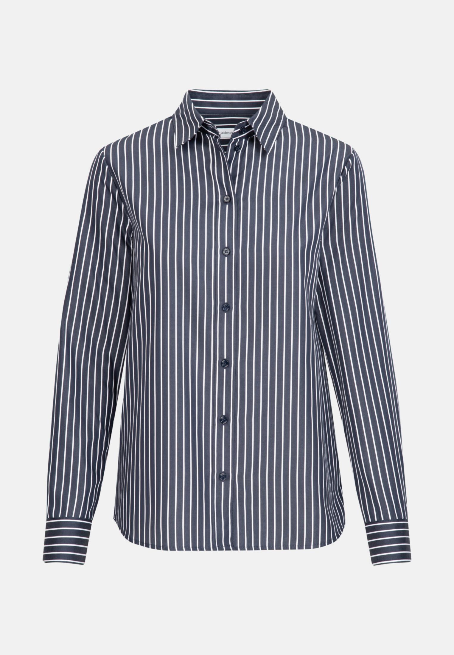 Satin Shirt Blouse made of 100% Cotton in Dark blue    Seidensticker Onlineshop
