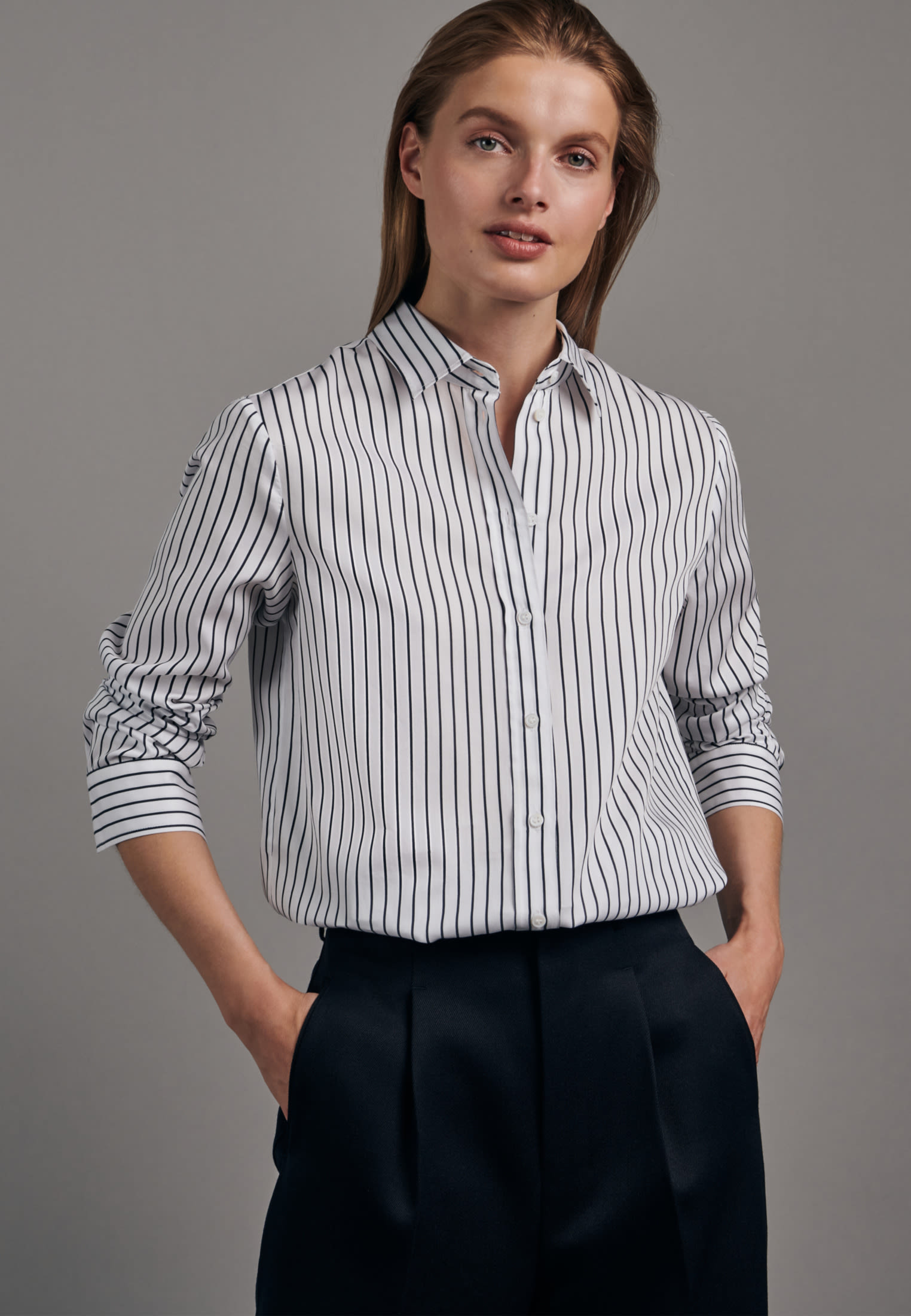 Satin Shirt Blouse made of 100% Cotton in White |  Seidensticker Onlineshop