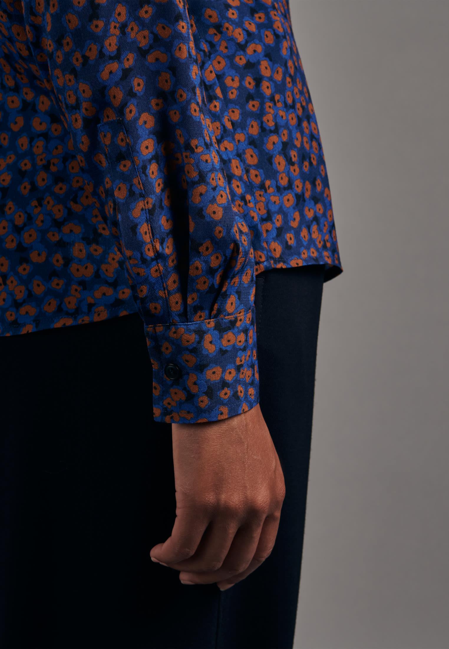 Poplin Tie-Neck Blouse made of 100% Viscose in Medium blue |  Seidensticker Onlineshop