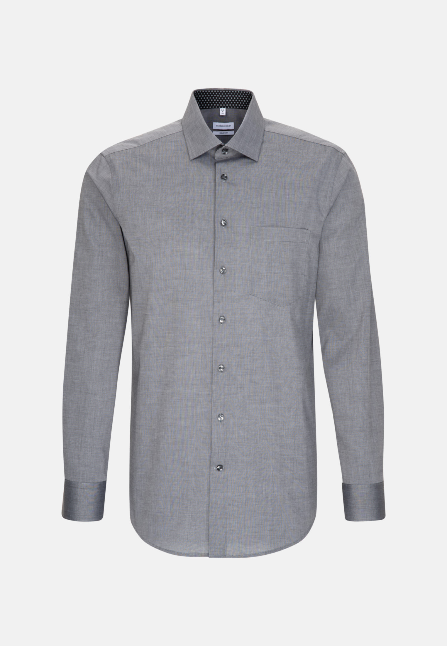 Non-iron Poplin Business Shirt in Comfort with Kent-Collar in Grey |  Seidensticker Onlineshop