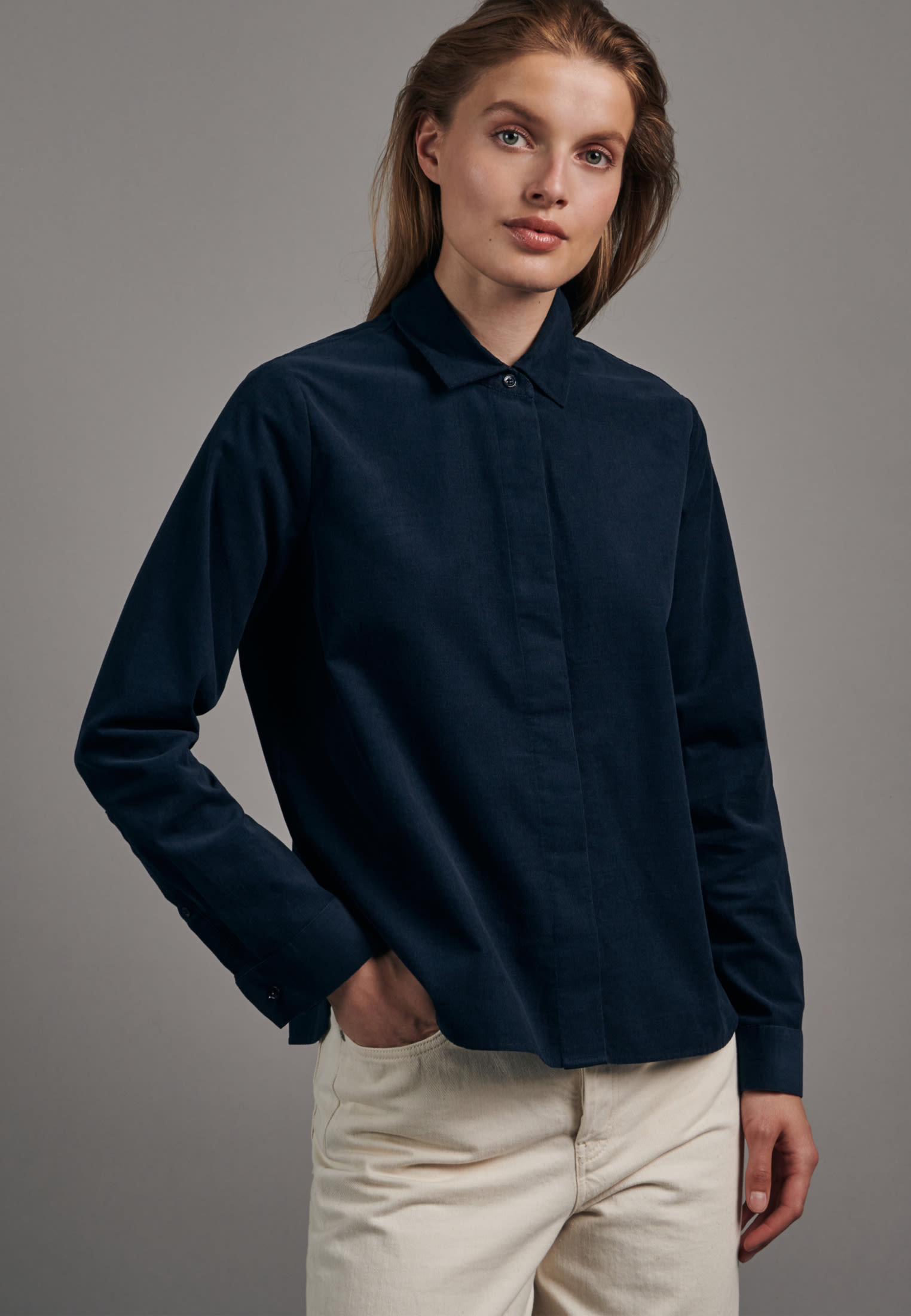 Corduroy Shirt Blouse made of 100% Cotton in Dark blue    Seidensticker Onlineshop