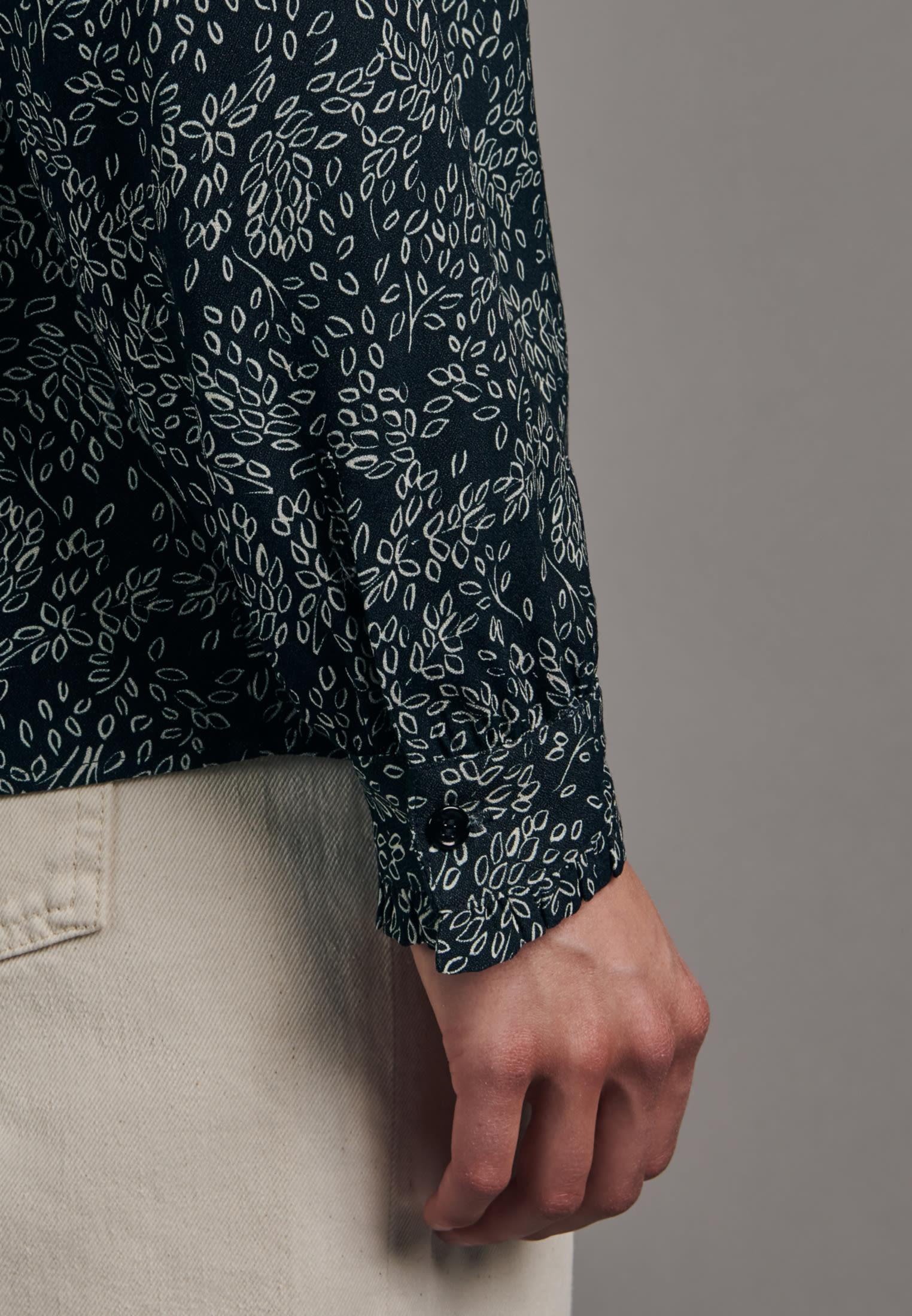 Crepe Stand-Up Blouse made of 100% Viscose in Dark blue |  Seidensticker Onlineshop